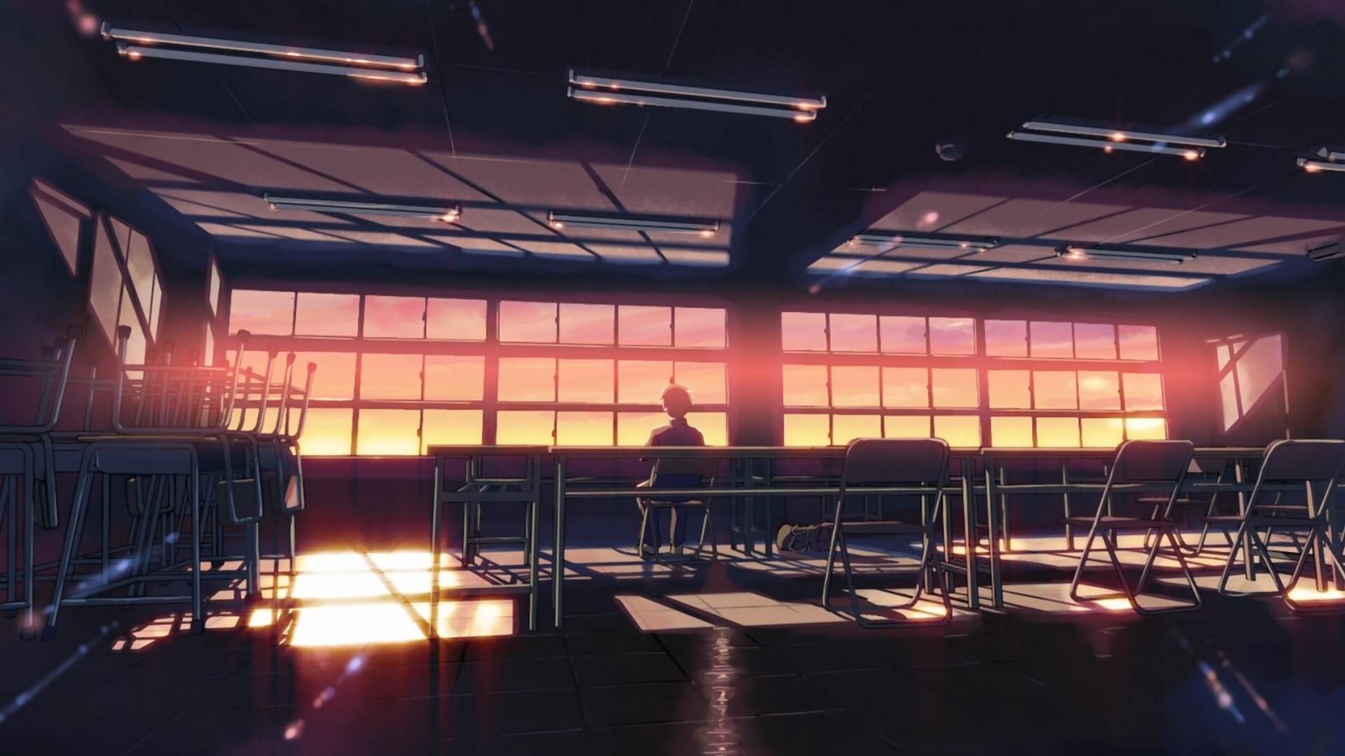 Anime 1920x1080 school classroom anime 5 Centimeters Per Second sunset sunlight desk alone Makoto Shinkai