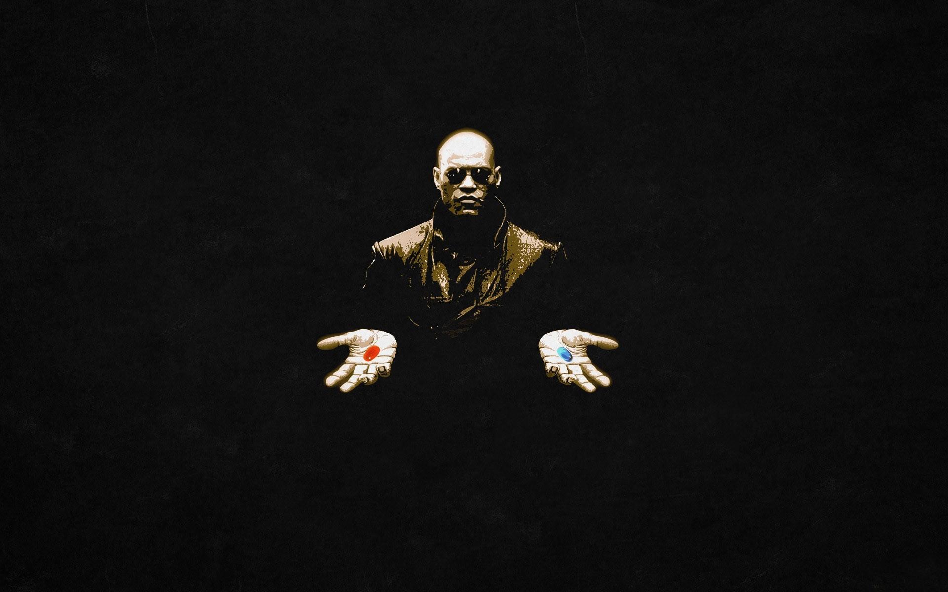 General 1920x1200 science fiction Morpheus black The Matrix pills Laurence Fishburne movies