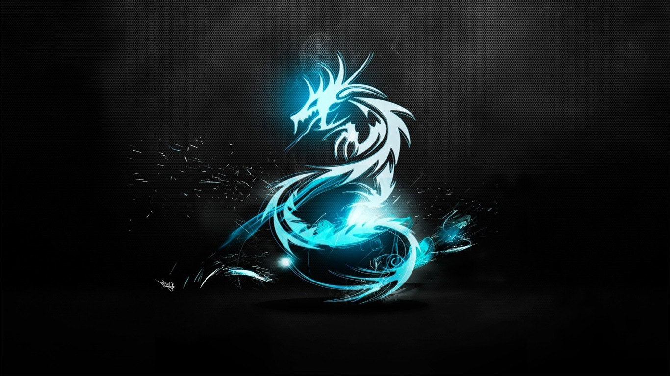 General 1366x768 dragon Fire dragon cyan
