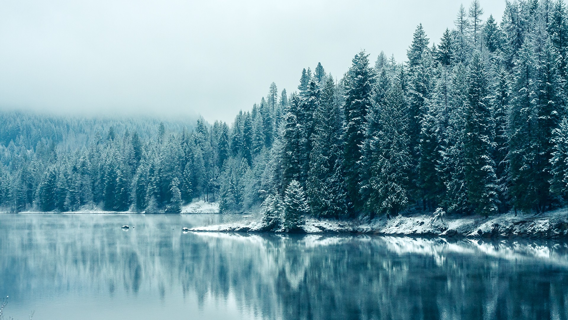 General 1920x1080 snow lake nature depth of field trees winter landscape water reflection turquoise