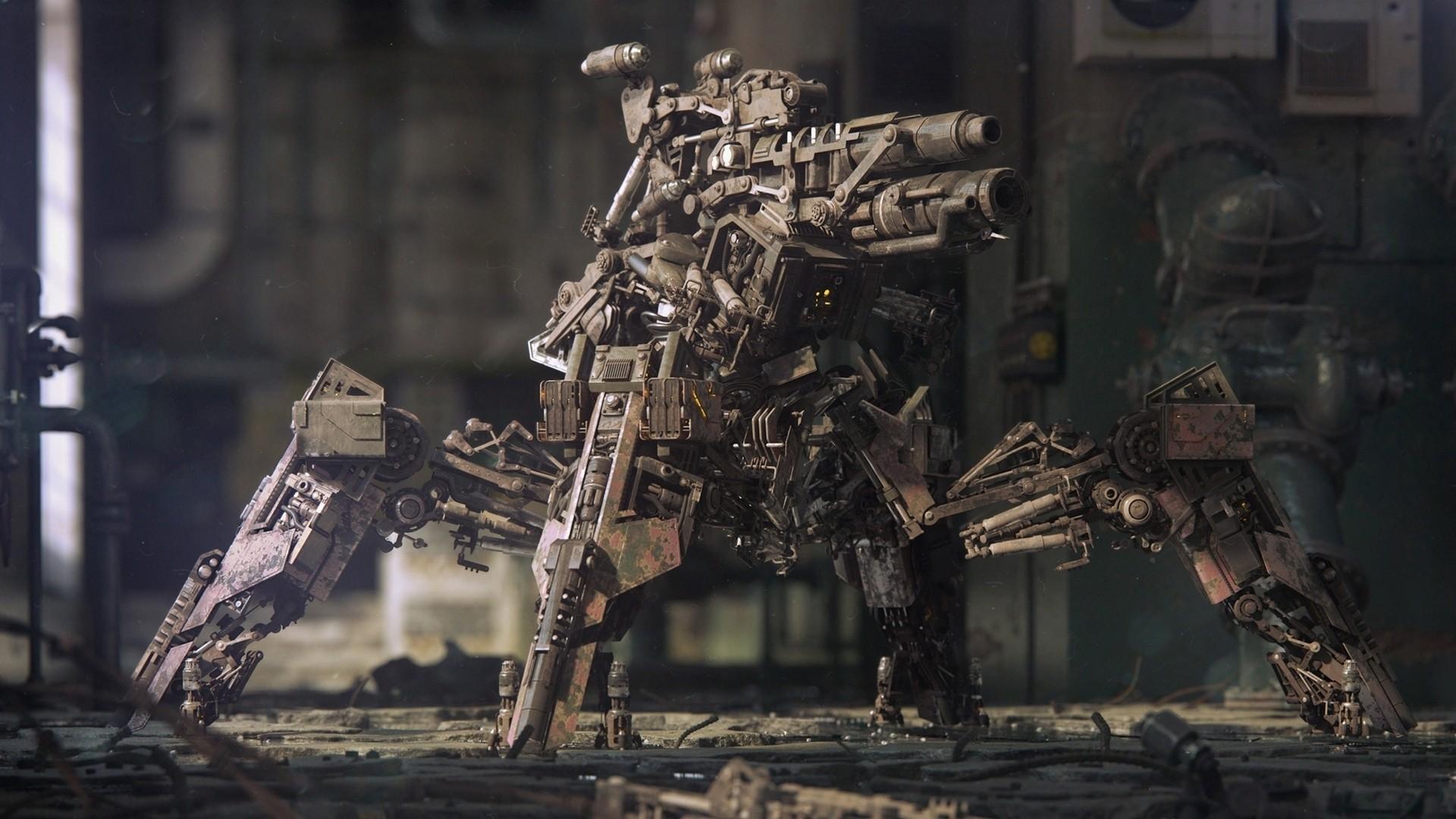 General 1920x1080 digital art cannons military mech artwork weapon concept art robot machine