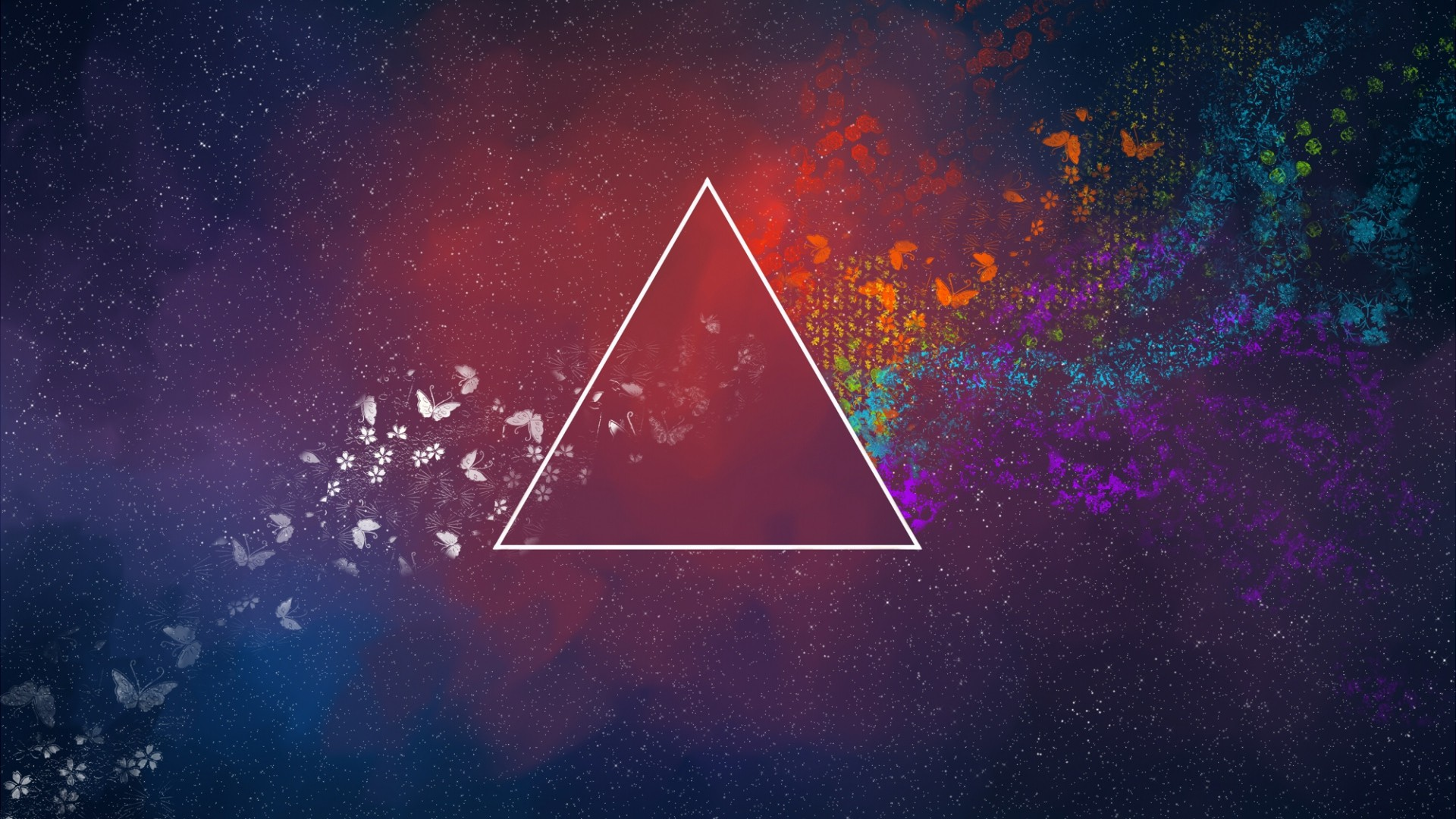 General 1920x1080 abstract triangle flowers Pink Floyd The Dark Side of the Moon colorful butterfly digital art