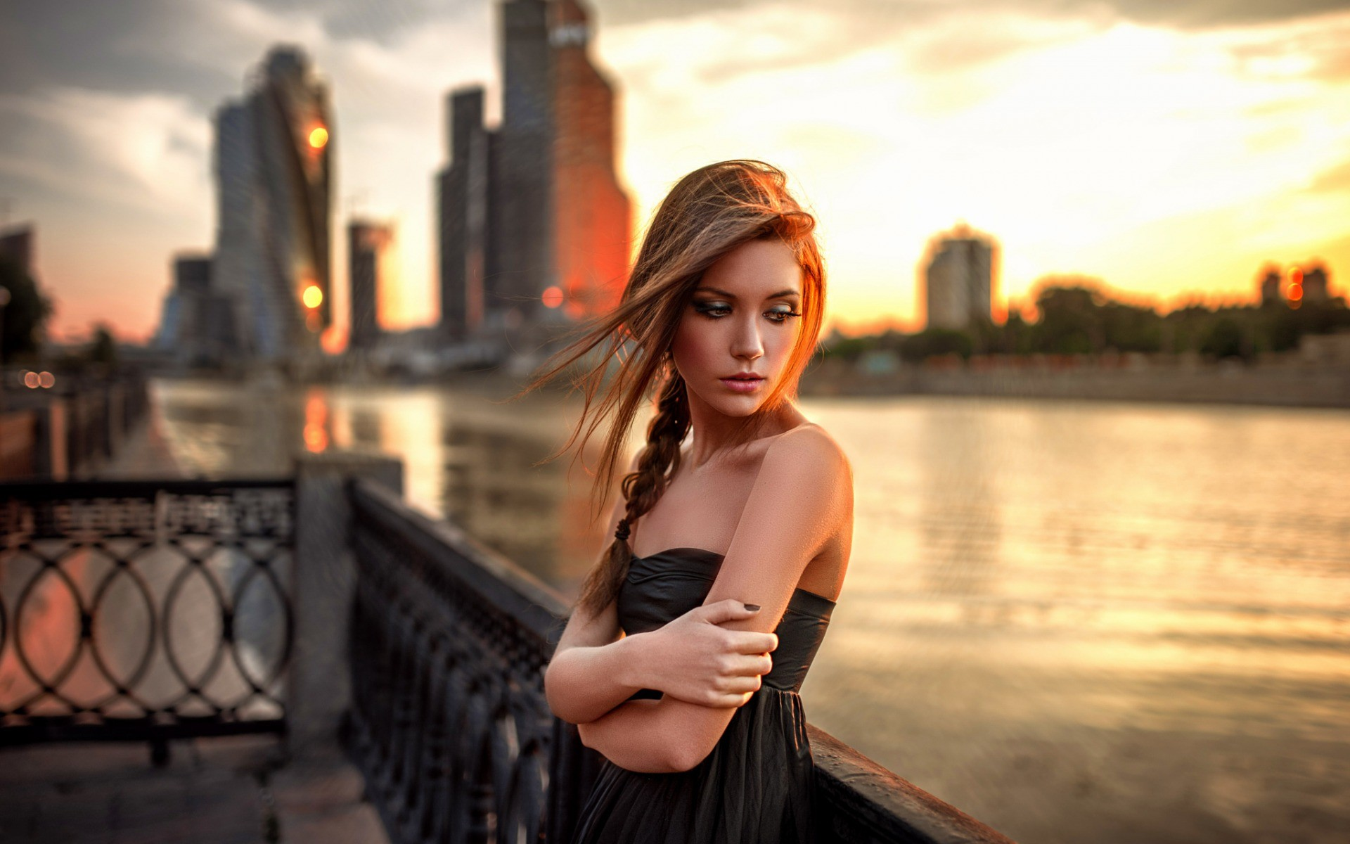 People 1920x1200 women women outdoors redhead portrait bare shoulders black dress depth of field looking away open mouth long hair sunset fence city Georgy Chernyadyev blonde brunette model closed Zero Figure building river Ksenia Kokoreva Russian
