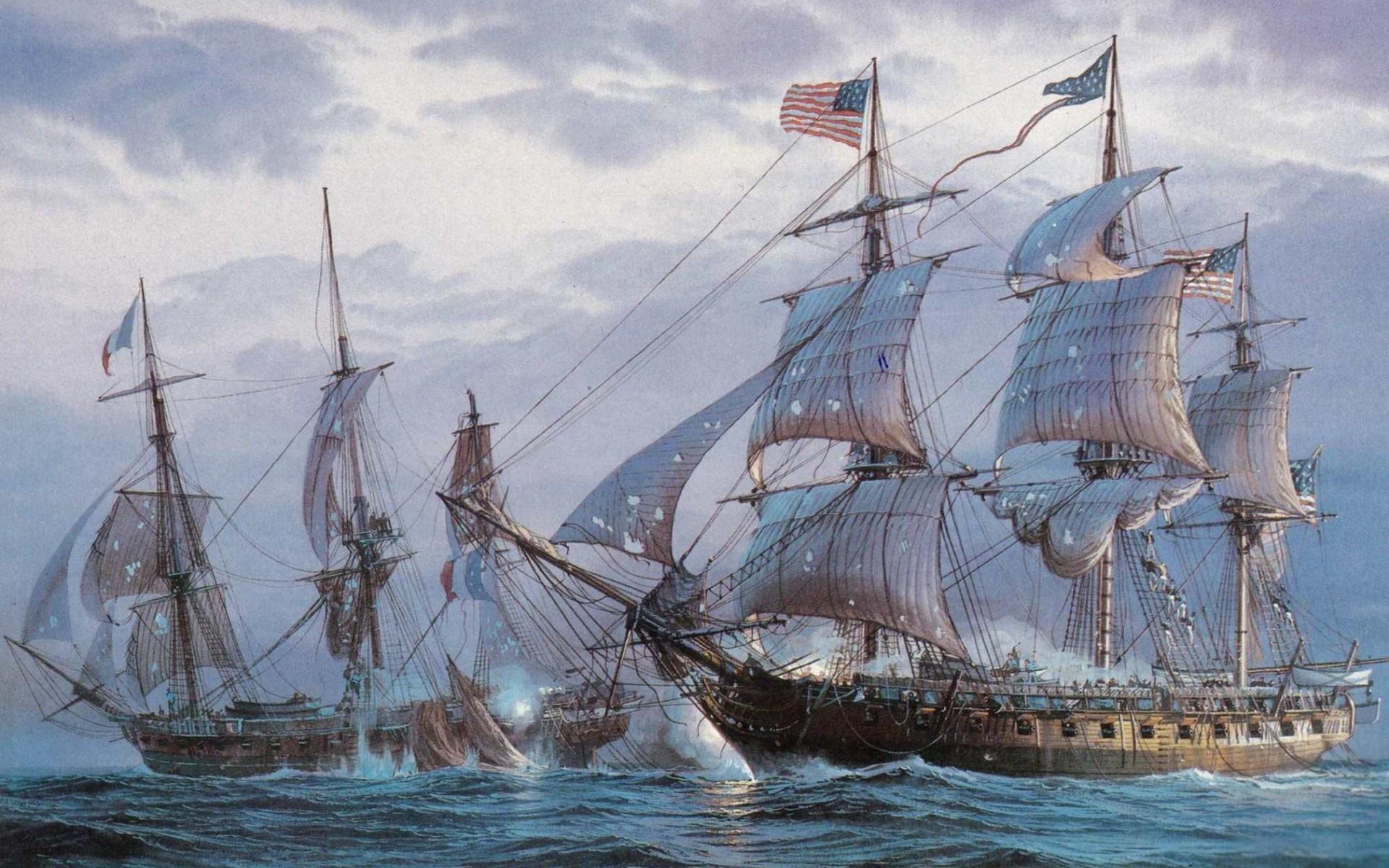 General 1920x1200 painting sailing ship American flag sea ship artwork rigging (ship) vehicle