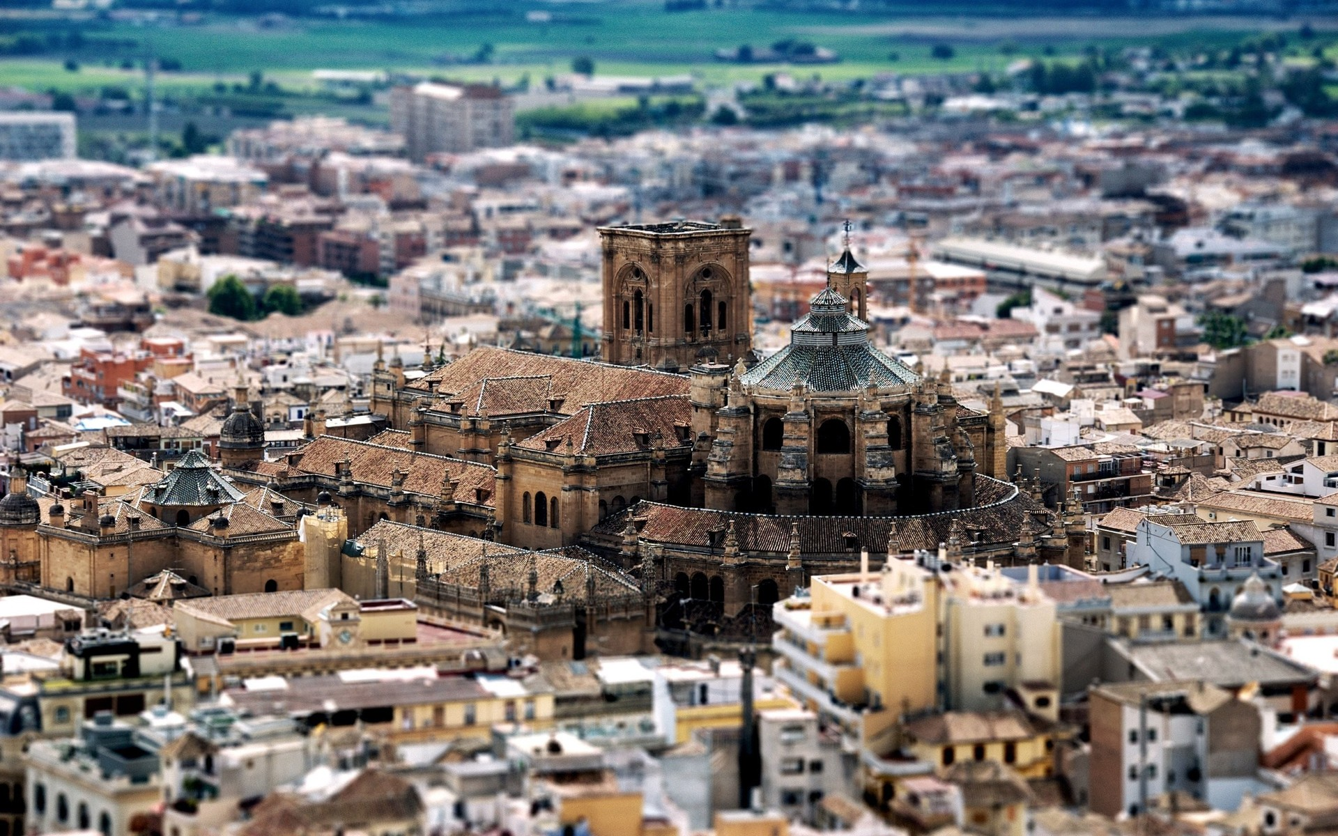 General 1920x1200 tilt shift Granada old building cityscape cathedral