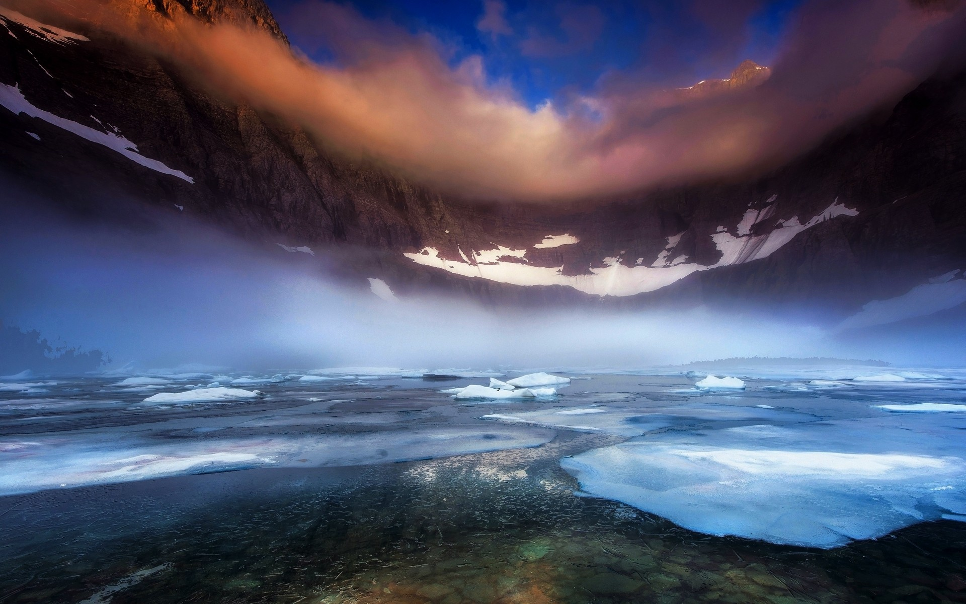 General 1920x1200 nature landscape lake Glacier National Park morning mist mountains frost ice snow clouds