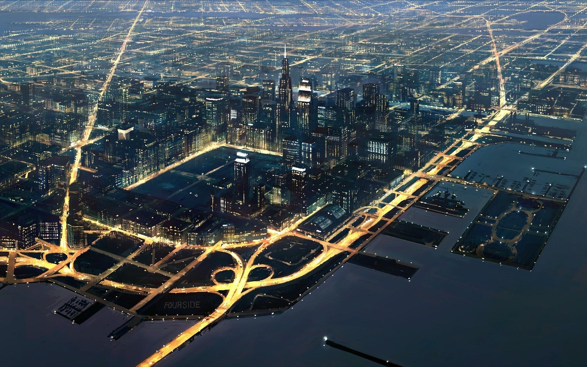 General 1920x1200 cityscape artwork road building architecture sea lights long exposure