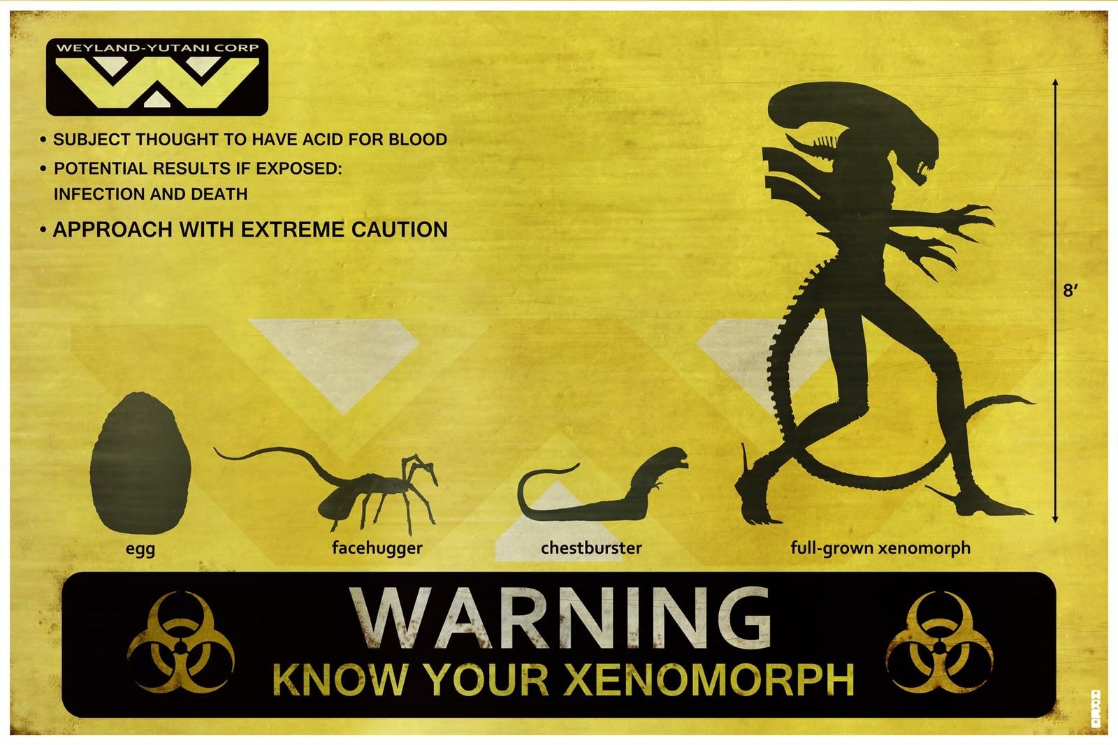 General 1600x1067 aliens signs Xenomorph artwork humor Alien (Creature) Eggs (Alien) facehugger Weyland-Yutani Corporation dark humor science fiction horror creature Biohazard (Sign) Chest Burster (Alien)