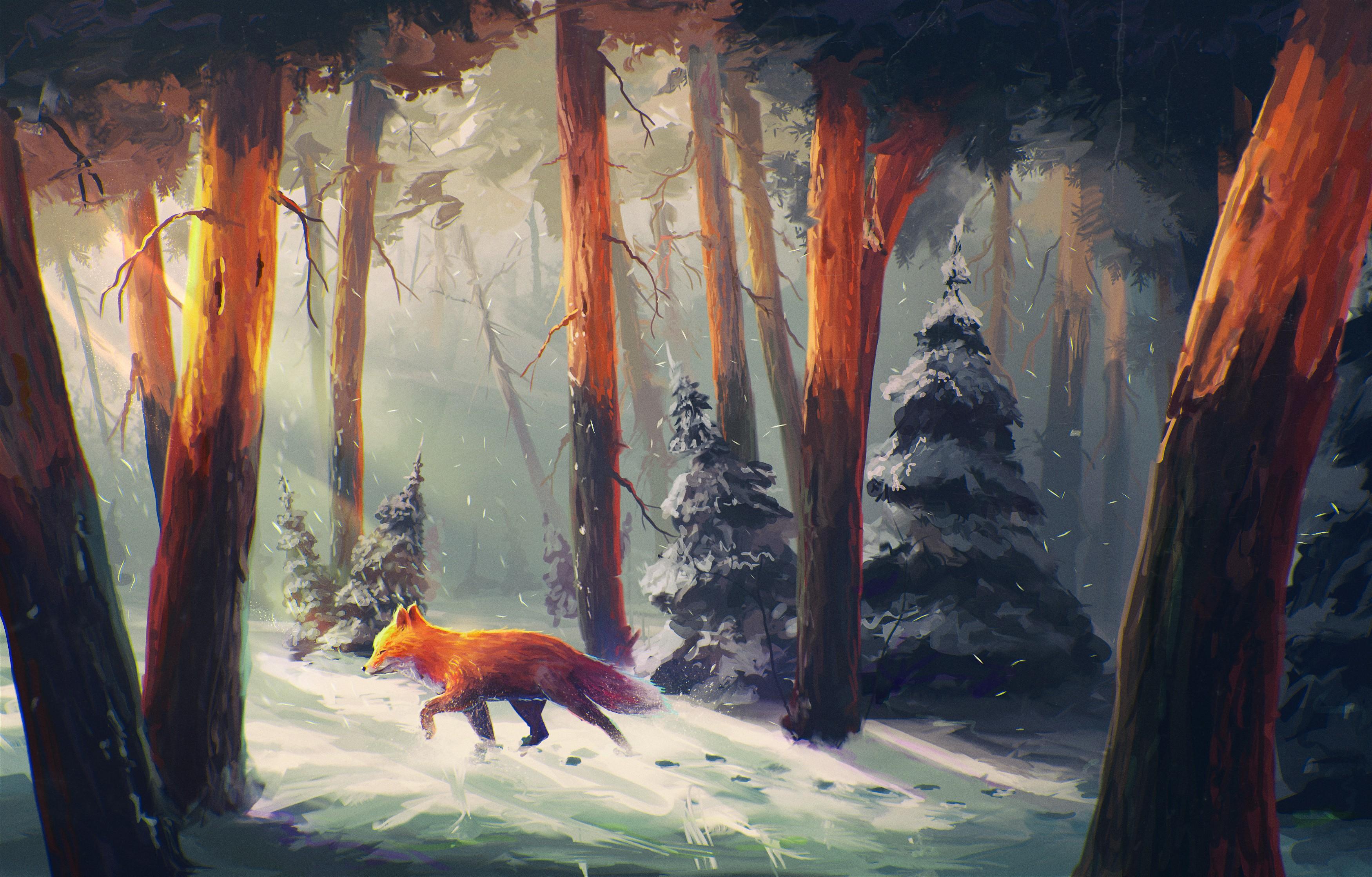 General 3500x2238 nature animals snow artwork digital art forest Sylar sunlight fox orange snowing