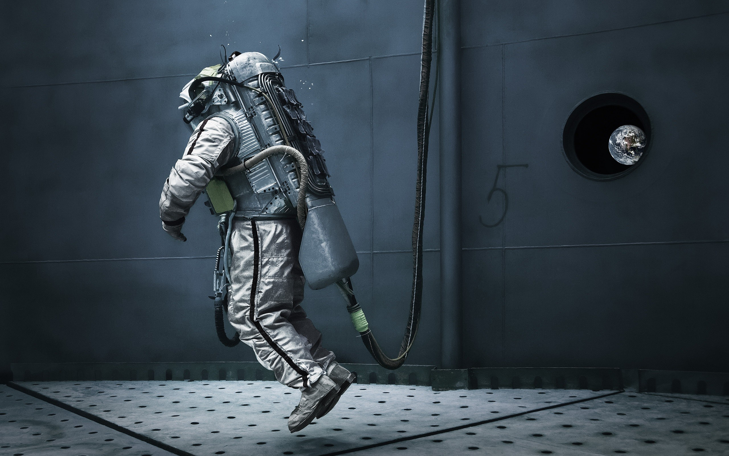 General 2560x1600 astronaut Earth space floating numbers machine window