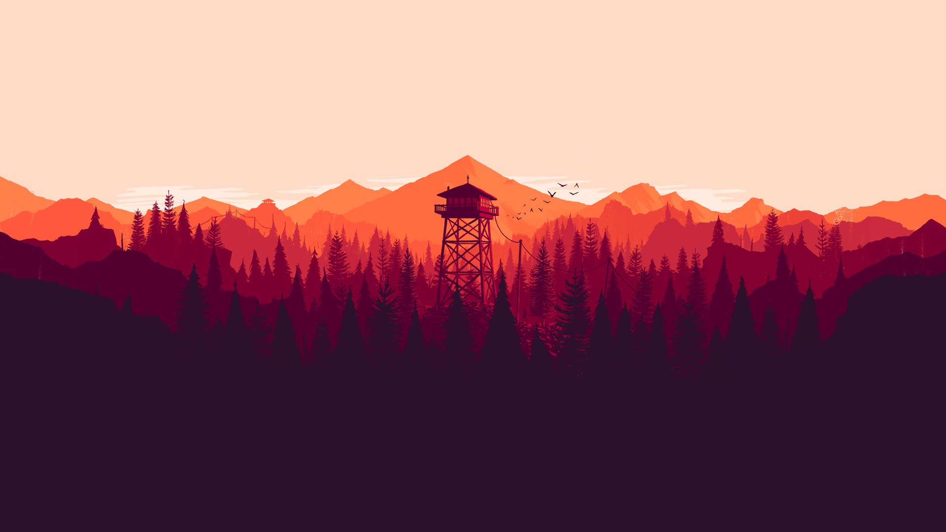 General 1920x1080 video games Firewatch mountains landscape artwork nature forest tower Olly Moss illustration digital art 2016 (Year)