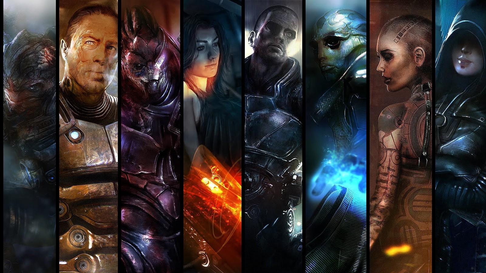 General 1600x900 Mass Effect 2 collage video games video game art video game girls video game man science fiction PC gaming science fiction women Science Fiction Men