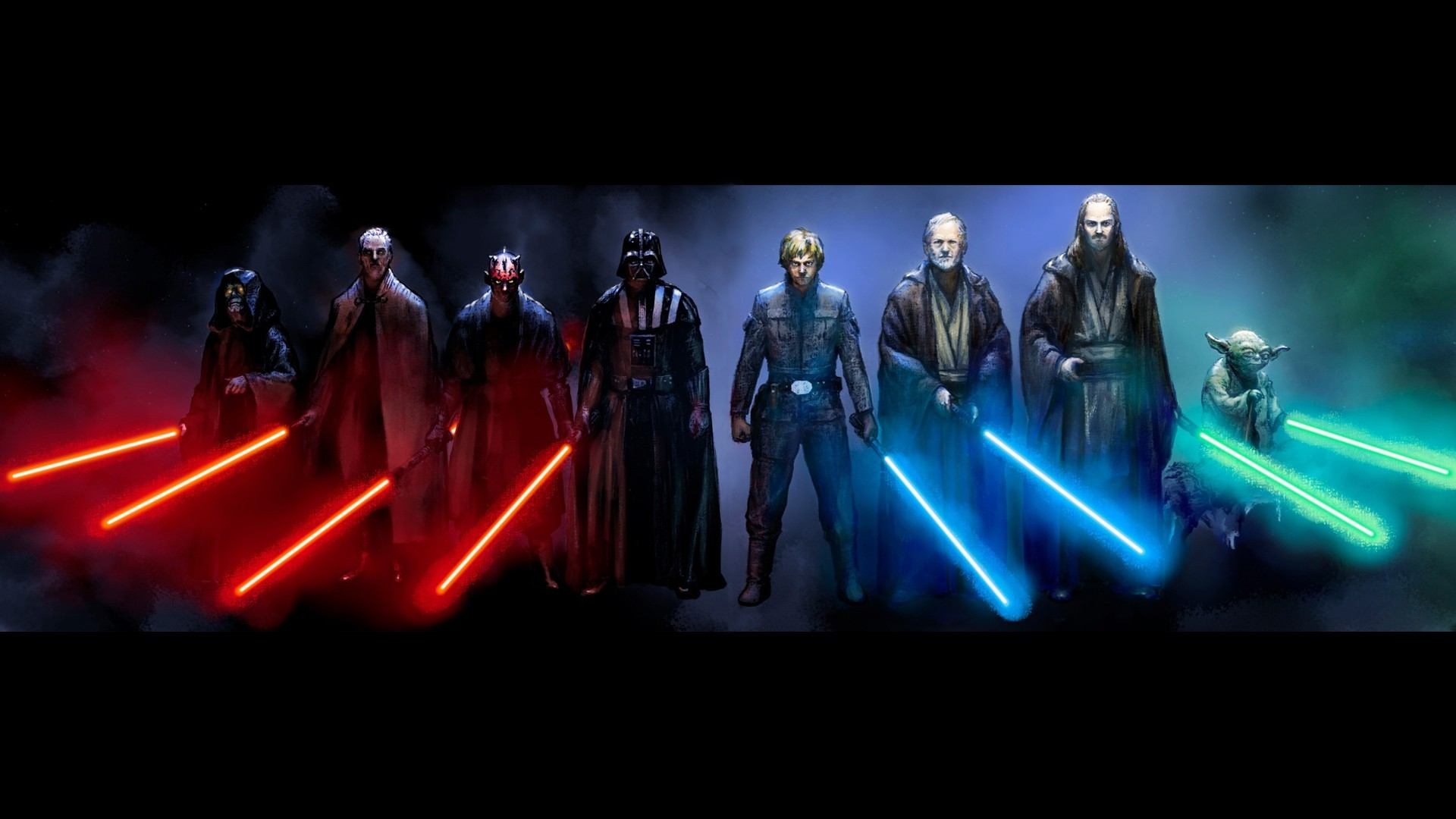 General 1920x1080 Star Wars Luke Skywalker Darth Vader Darth Maul Obi-Wan Kenobi Yoda lightsaber Jedi Sith artwork Qui-Gon Jinn Emperor Palpatine Count Dooku