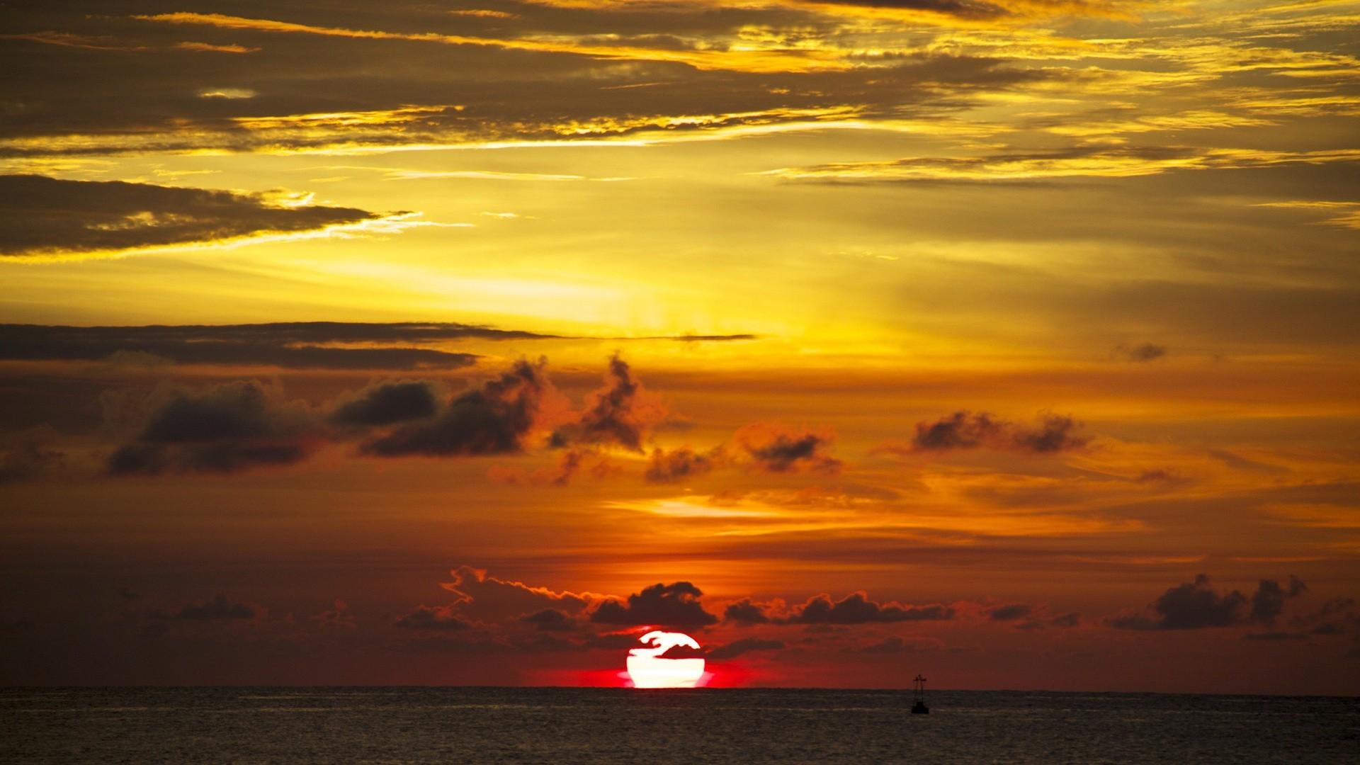 General 1920x1080 beach sunset sunlight Sun clouds sea