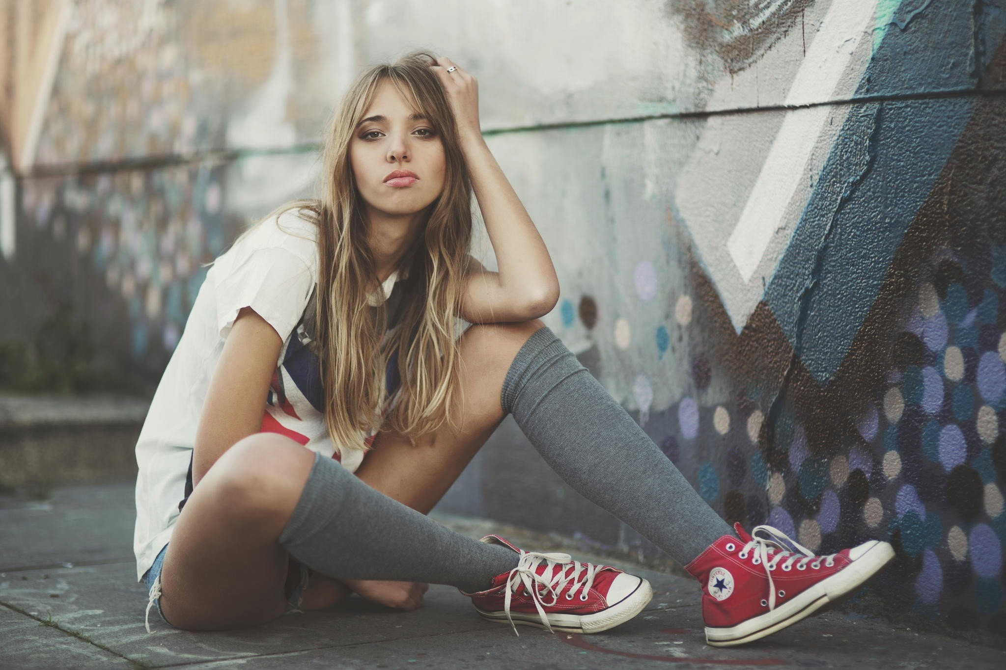 People 2048x1365 women model wall socks gray socks knee high socks sneakers red shoes bent legs on the ground sitting Converse