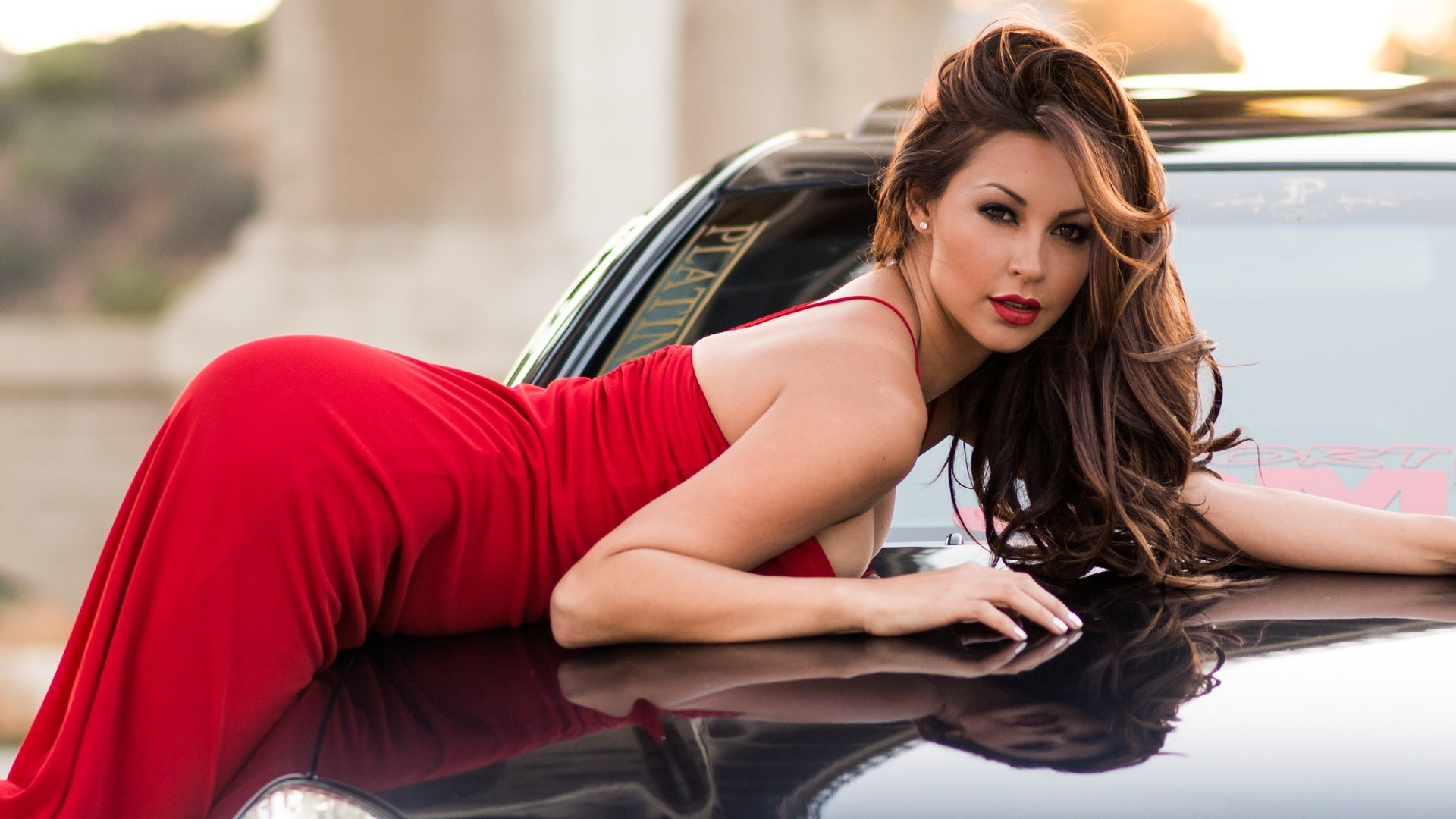 People 1920x1080 Melyssa Grace car brunette women model red dress pearl earrings dress brown eyes long hair red lipstick glamour women with cars ass bent over vehicle