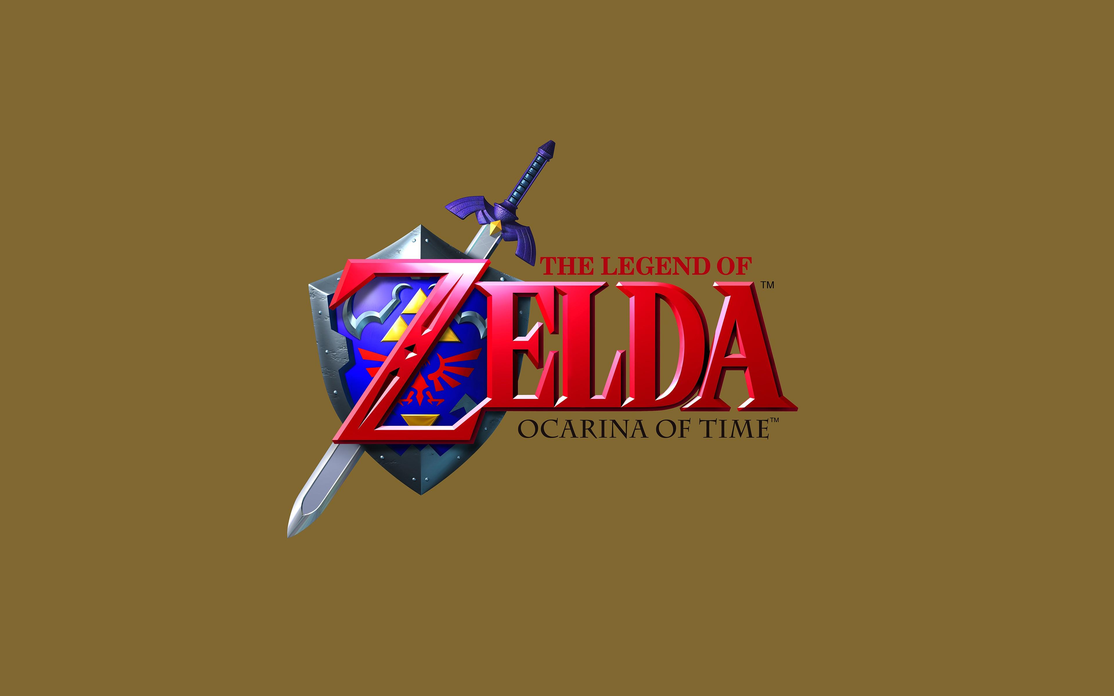 General 3840x2400 The Legend of Zelda: Ocarina of Time video games simple background retro games Master Sword Hylian Shield The Legend of Zelda