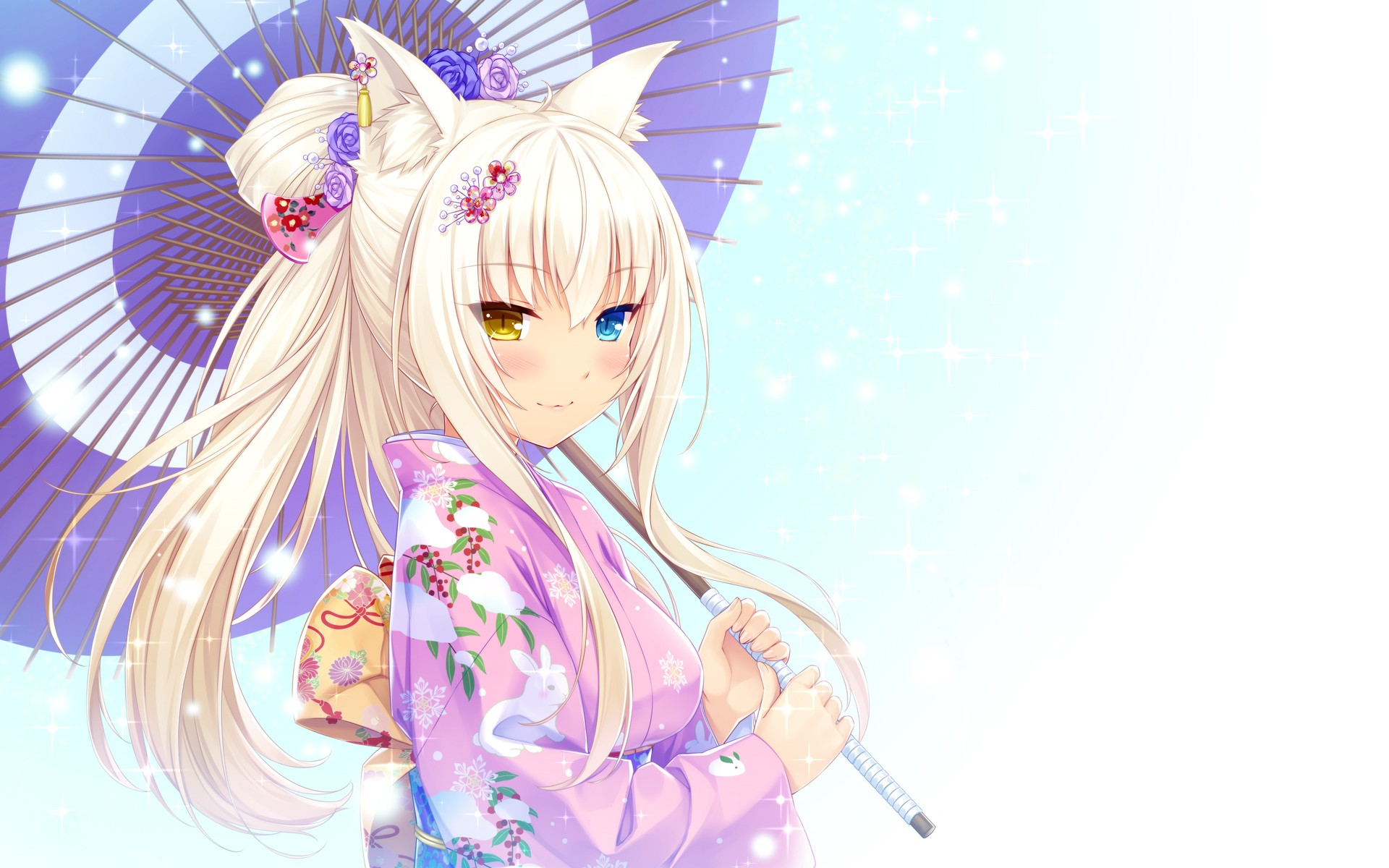 Anime 1920x1200 anime girls anime cat girl umbrella Neko Para Coconut (Neko Para) heterochromia kimono animal ears