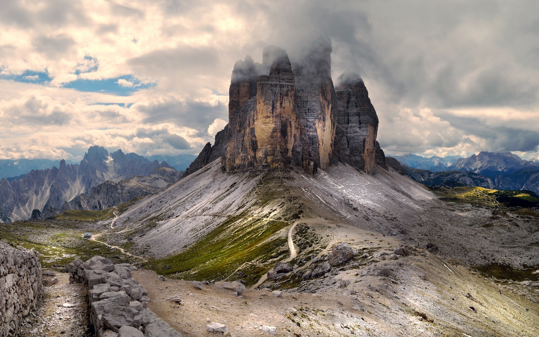 General 1800x1125 mountains summer clouds nature landscape Alps Italy path dirt road sky
