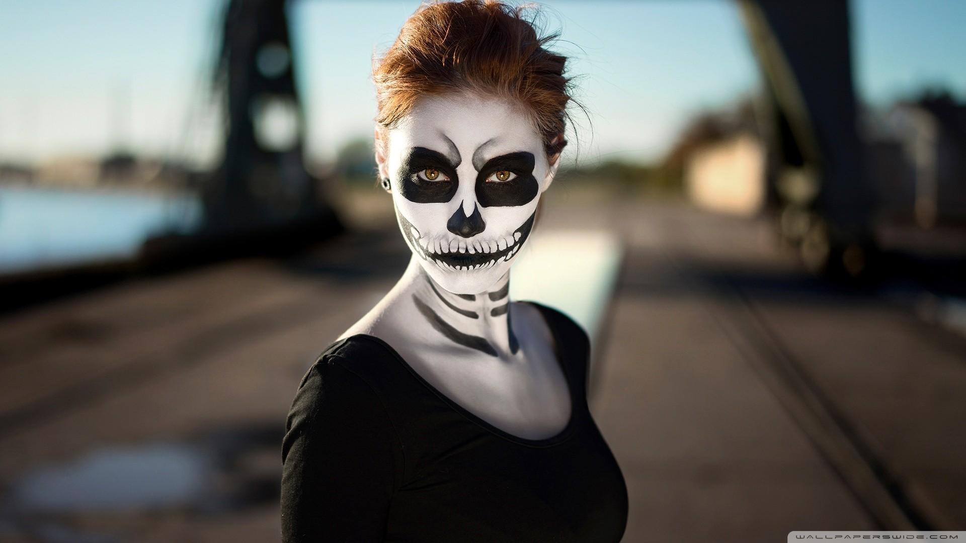 People 1920x1080 women makeup brunette Sugar Skull brown eyes Dia de los Muertos face paint