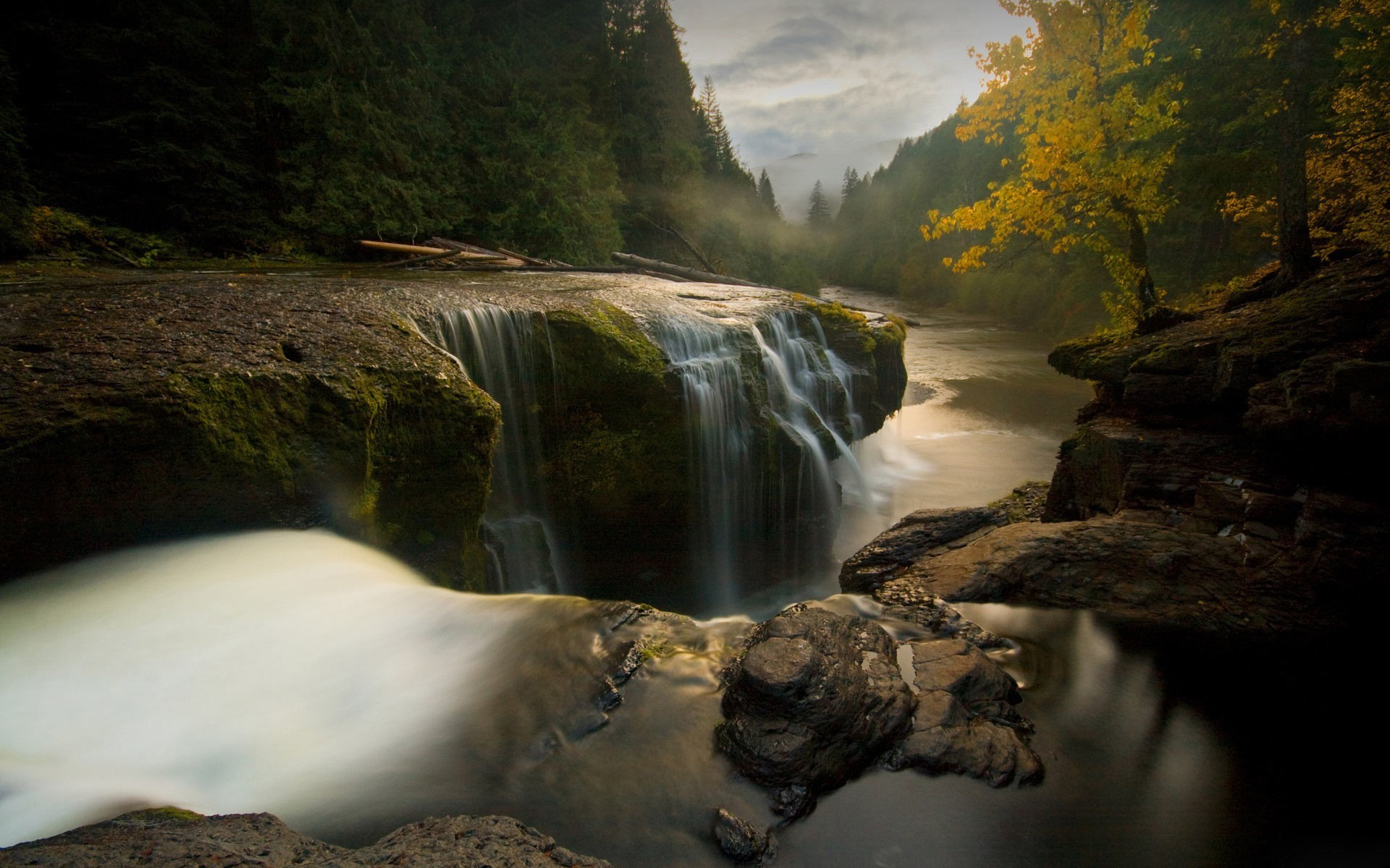 General 1920x1200 nature landscape water trees Washington state river waterfall stream USA rock forest fall long exposure