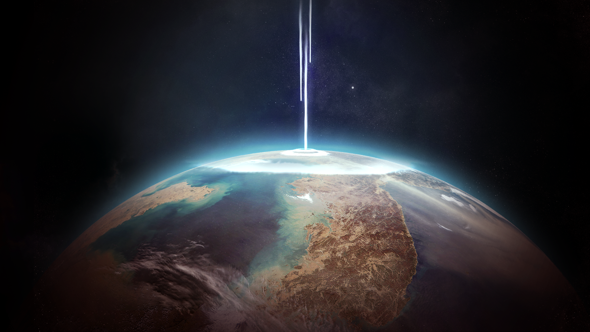 General 1920x1080 space Earth planet digital art science fiction space art stars