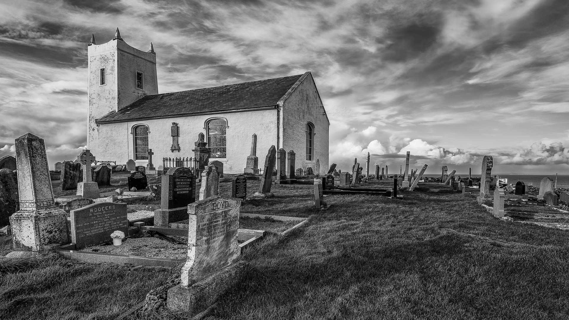 General 1920x1080 architecture monochrome grass clouds church cemetery grave England UK cross HDR old