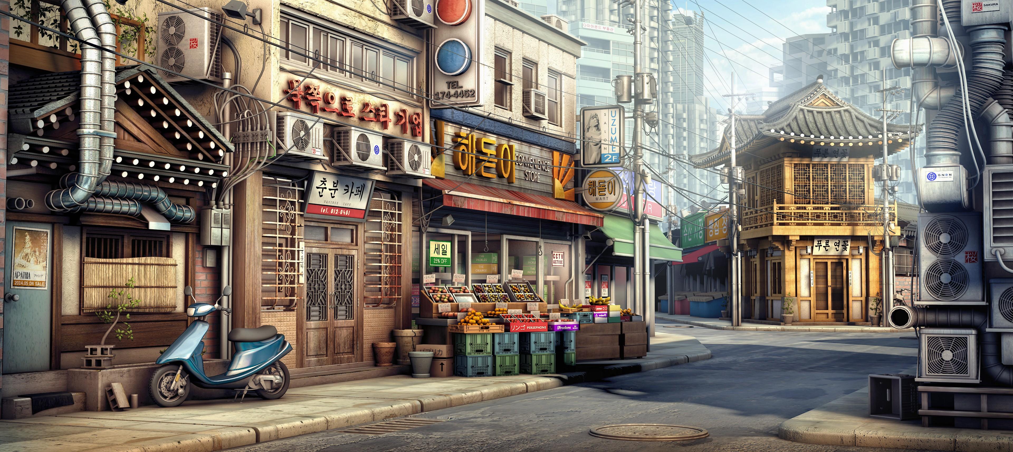Anime 3840x1713 city Korean anime urban vehicle