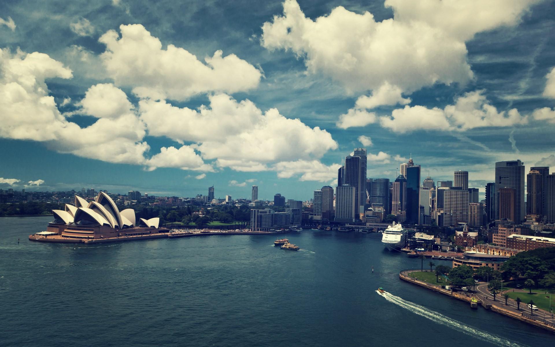 General 1920x1200 sky cityscape Sydney Sydney Opera House Australia urban building architecture city clouds water