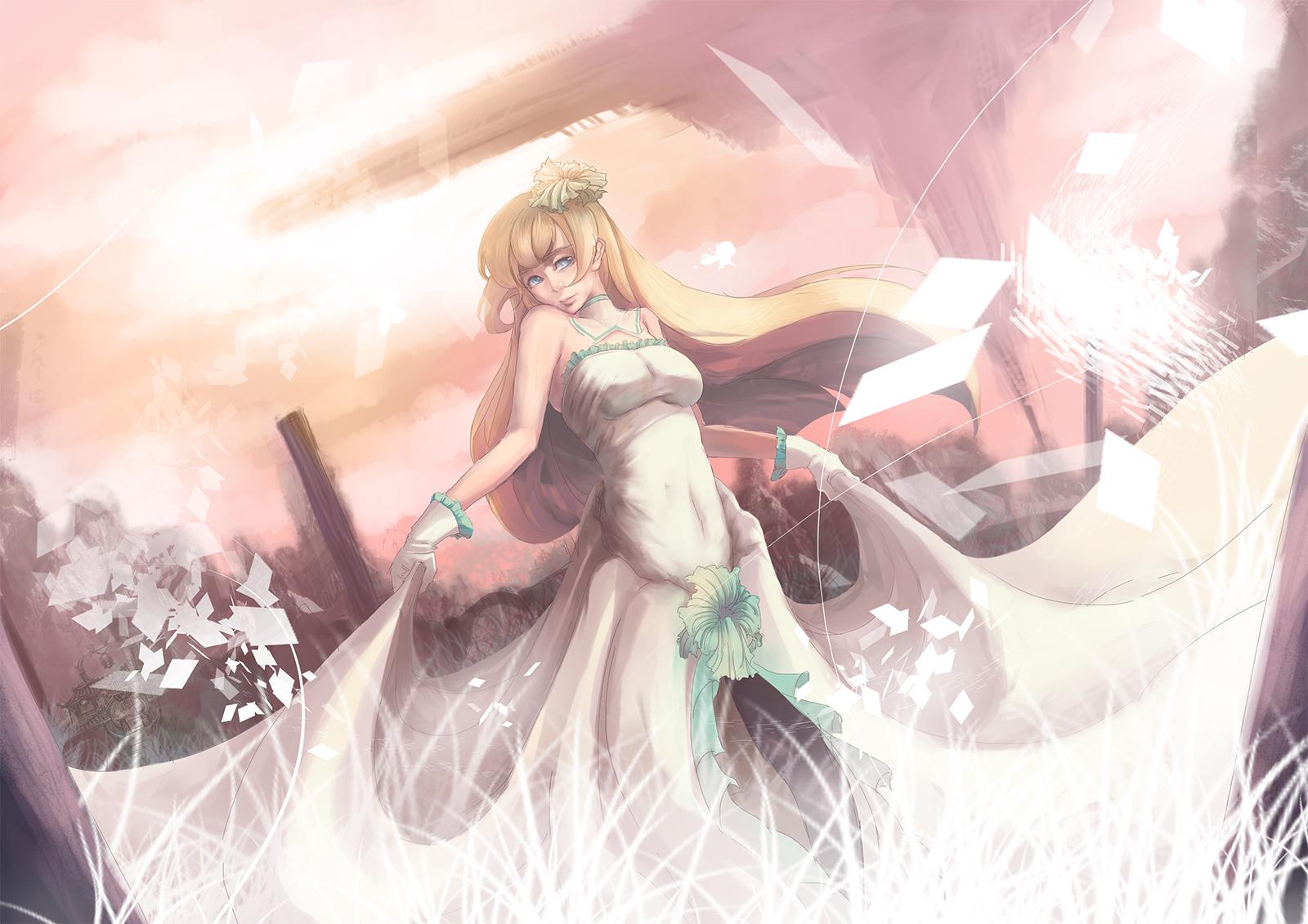 Anime 1600x1131 soft shading dress anime girls anime big boobs blonde long hair white dress