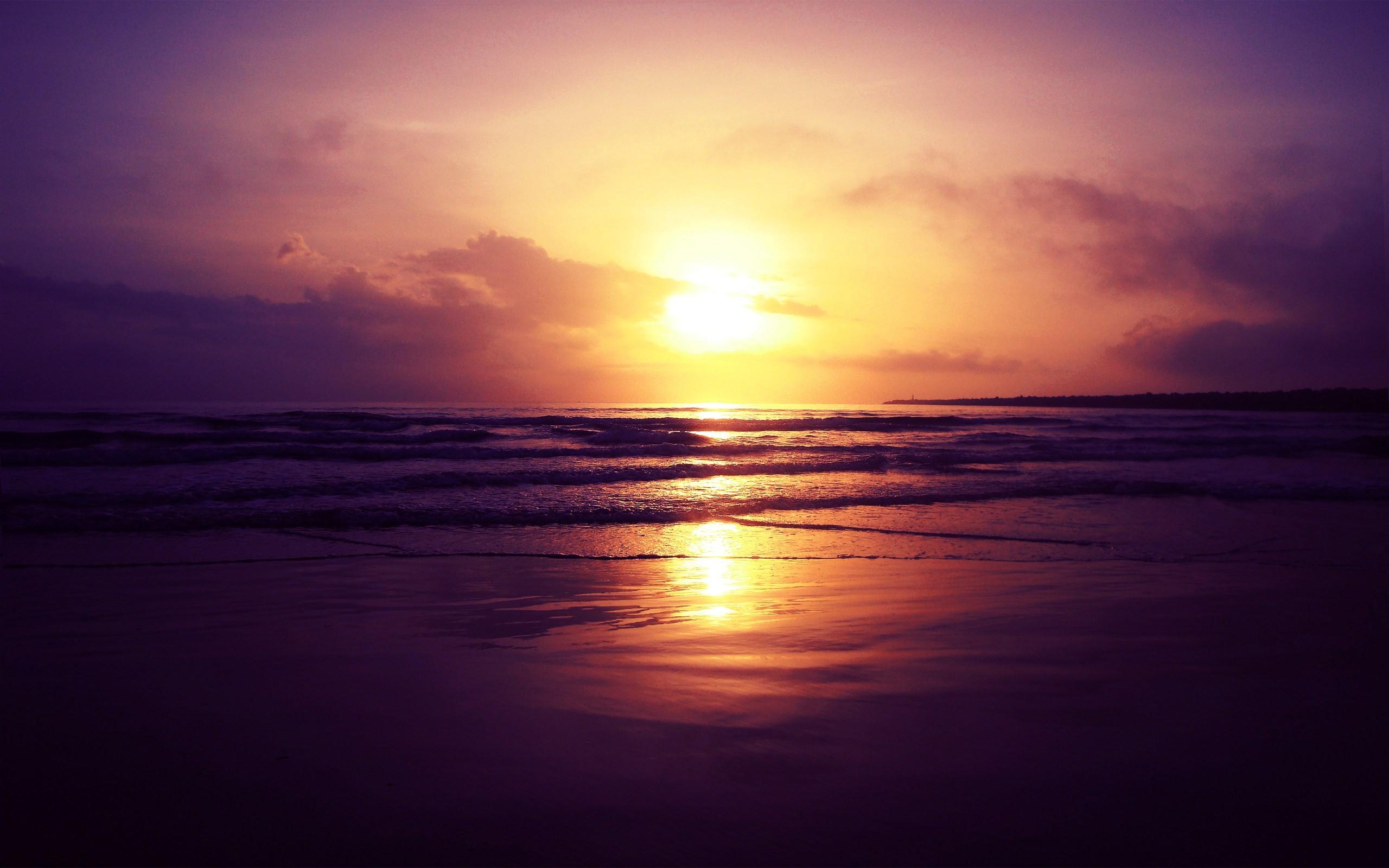 General 2560x1600 sunset landscape nature beach waves sea coast reflection
