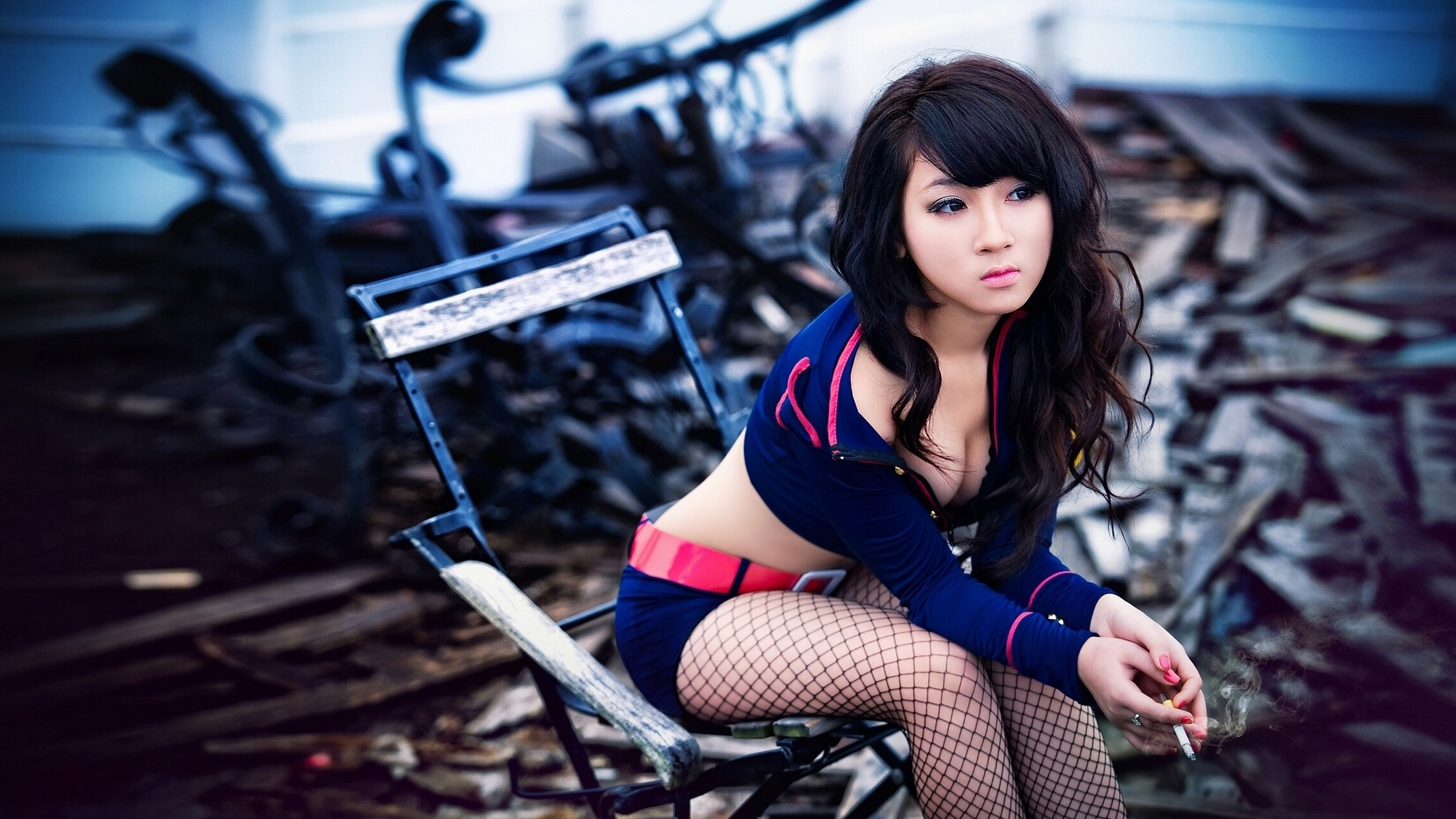 People 2134x1200 women Asian cosplay brunette wavy hair sitting chair looking away smoking fishnet