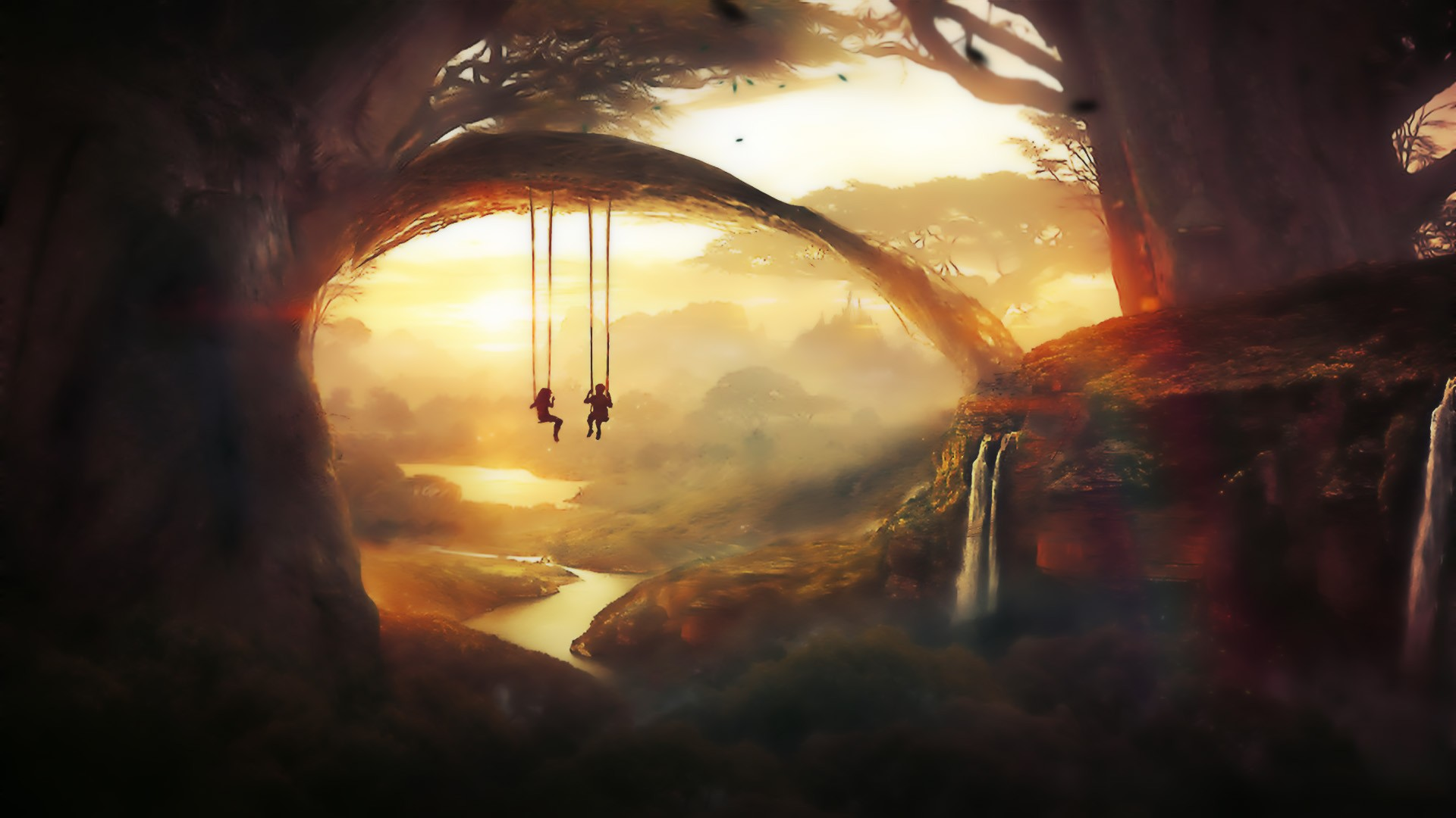 General 1920x1080 artwork fantasy art digital art forest nature painting swings children waterfall t1na DeviantArt