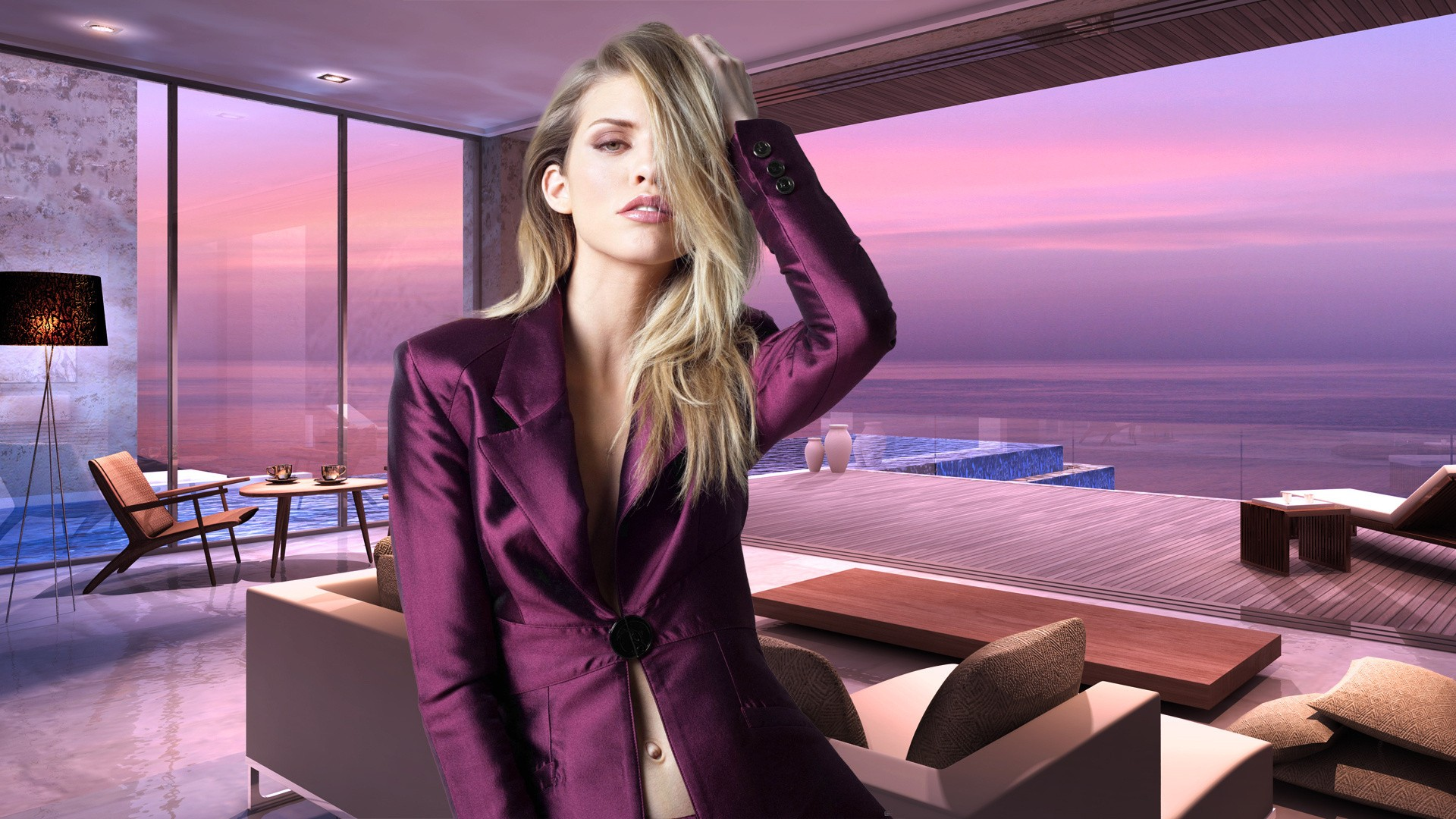 People 1920x1080 women hair   blonde dress skirt model luxury purple sea beach house