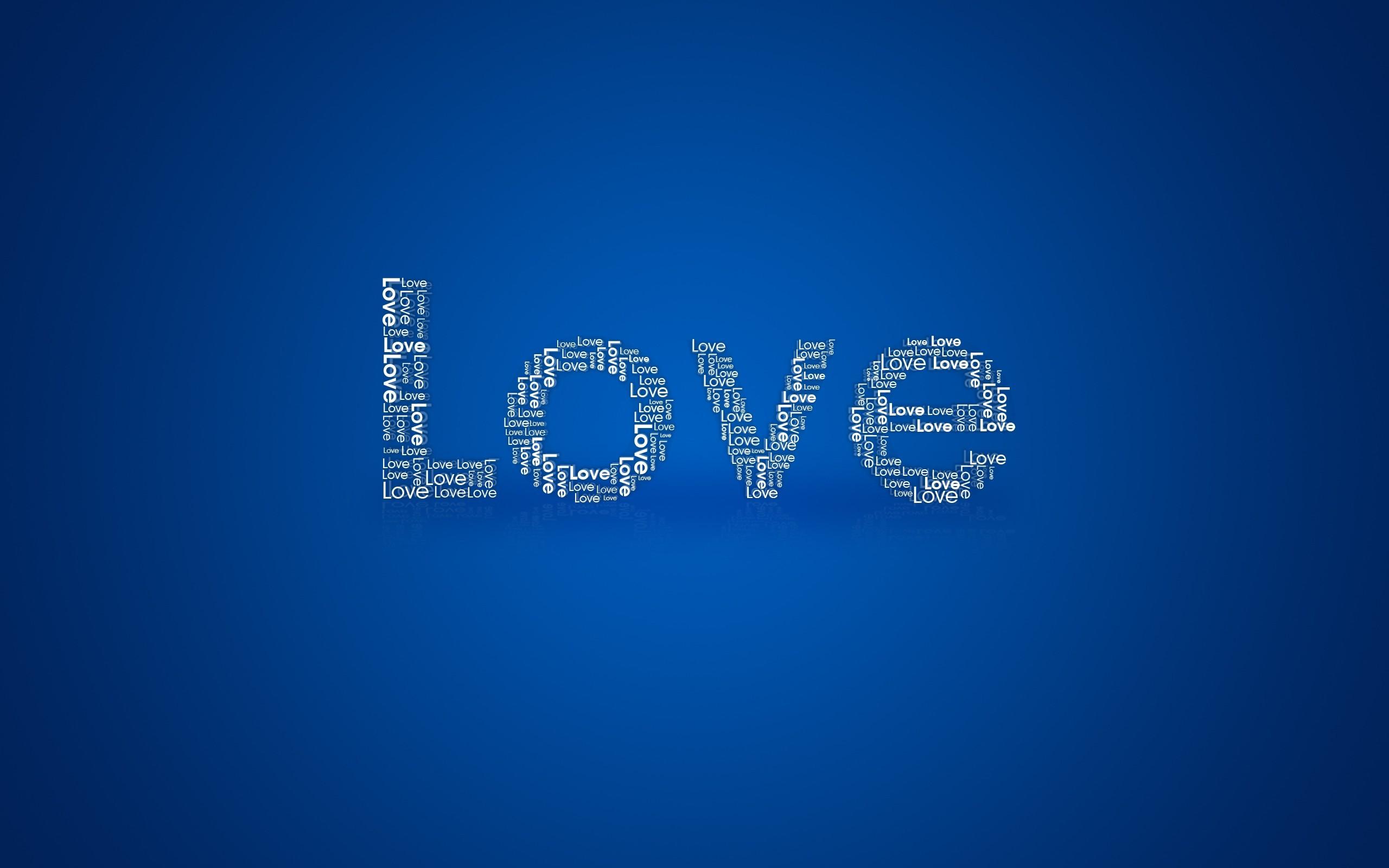 General 2560x1600 love blue background typography simple background digital art
