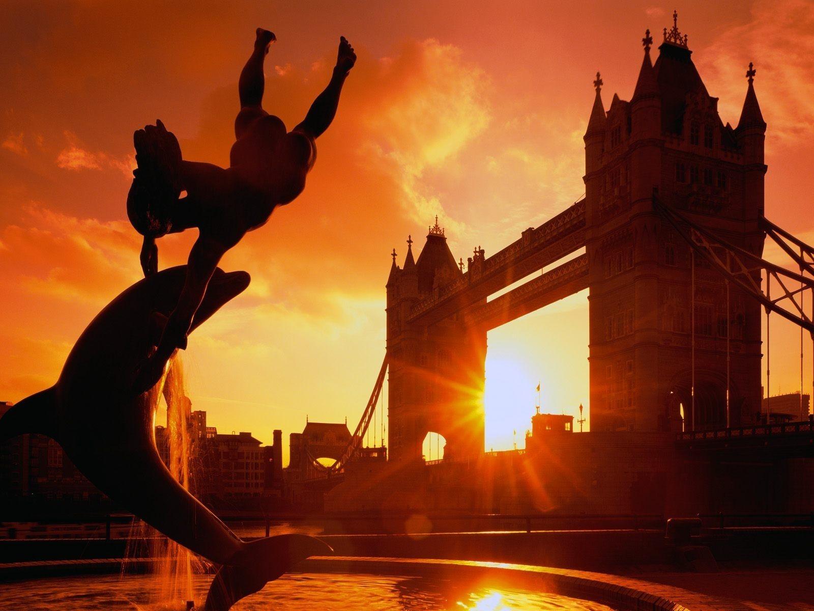 General 1600x1200 sunset sunlight Sun landscape building bridge city architecture silhouette dolphin London River Thames statue England UK