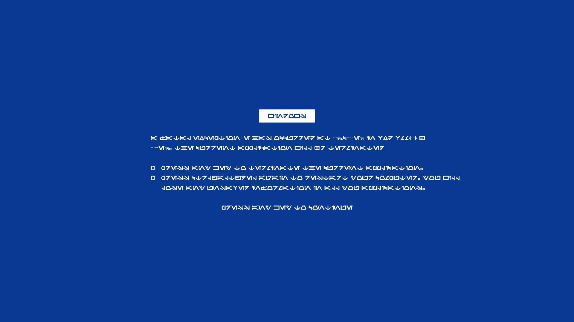 General 1920x1080 Blue Screen of Death text simple background Windows technology errors Windows Errors humor computer Microsoft Windows Aurebesh