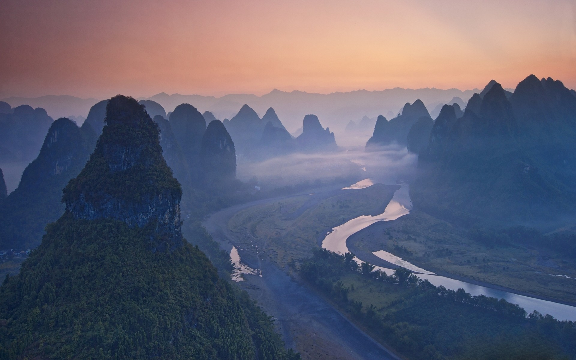General 1920x1200 nature landscape river mist China mountains forest