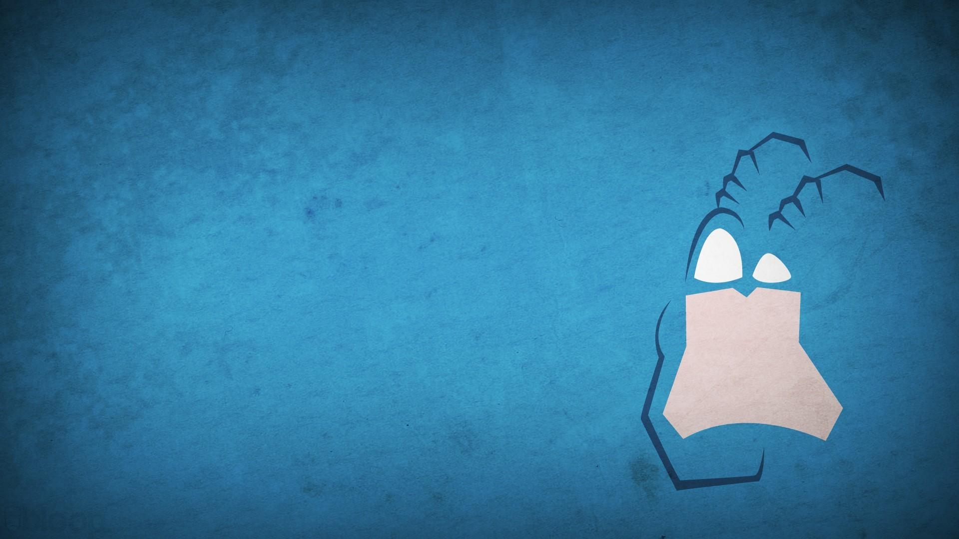 General 1920x1080 minimalism artwork cartoon Blo0p superhero blue background blue