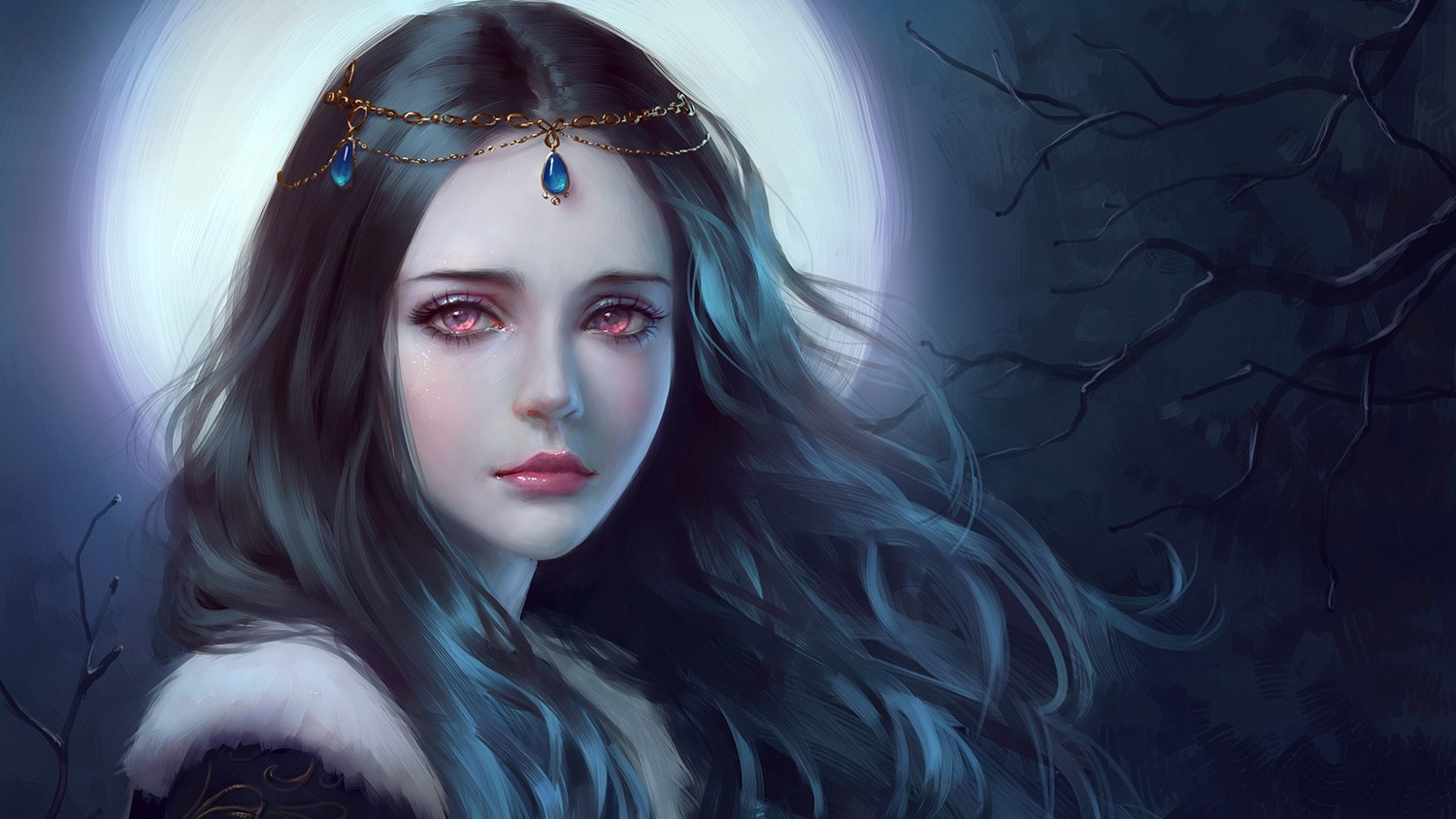 General 1500x844 fantasy art women hair   princess night red eyes crown dark trees