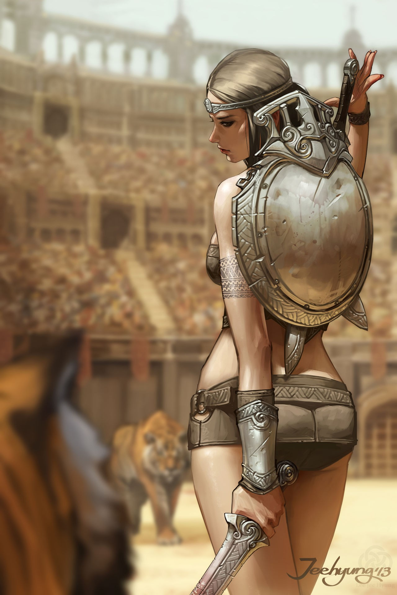 General 1280x1920 fantasy art fantasy girl tiger