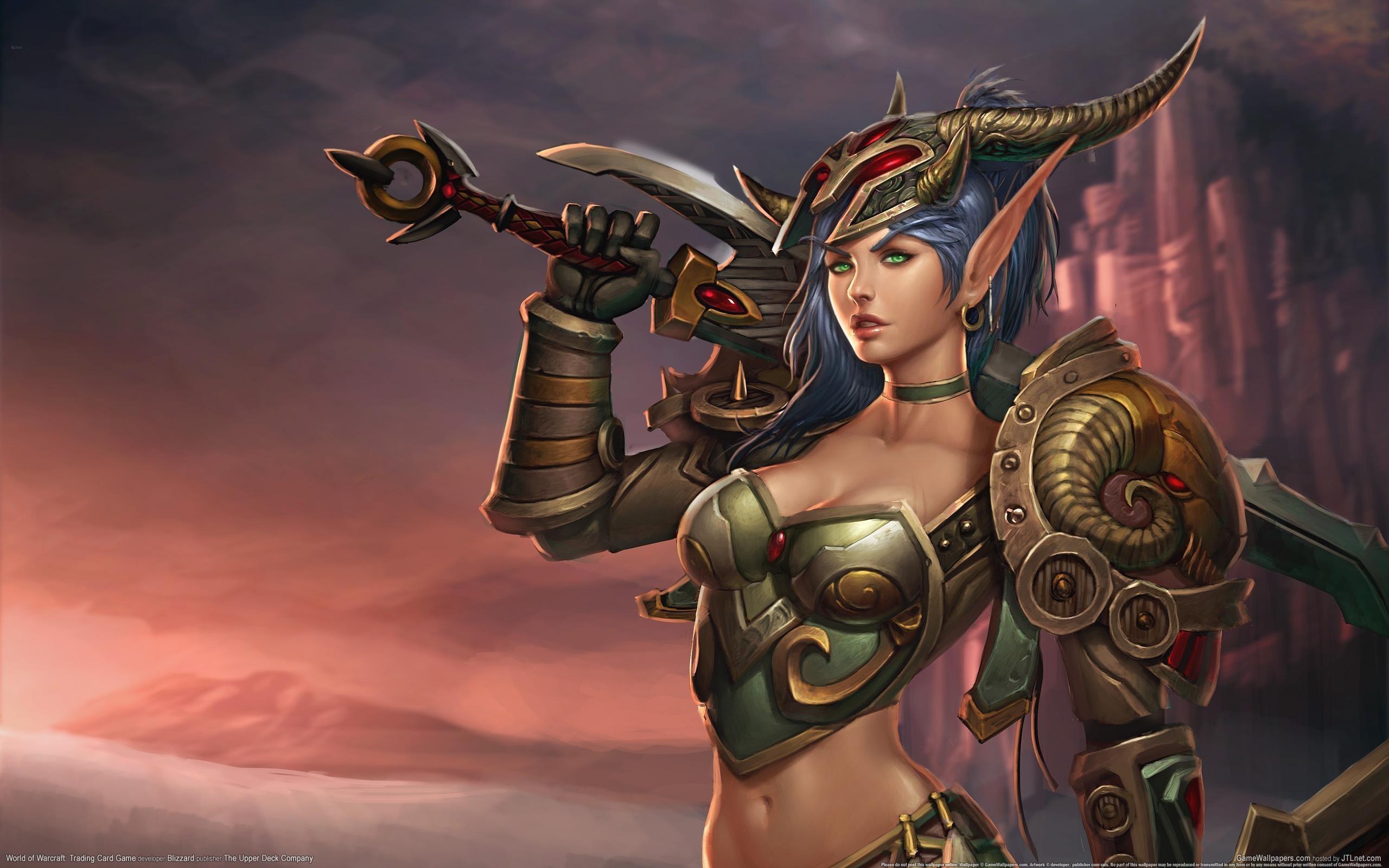 General 2560x1600 Warcraft World of Warcraft: Trading Card Game big boobs helmet cleavage fantasy girl World of Warcraft