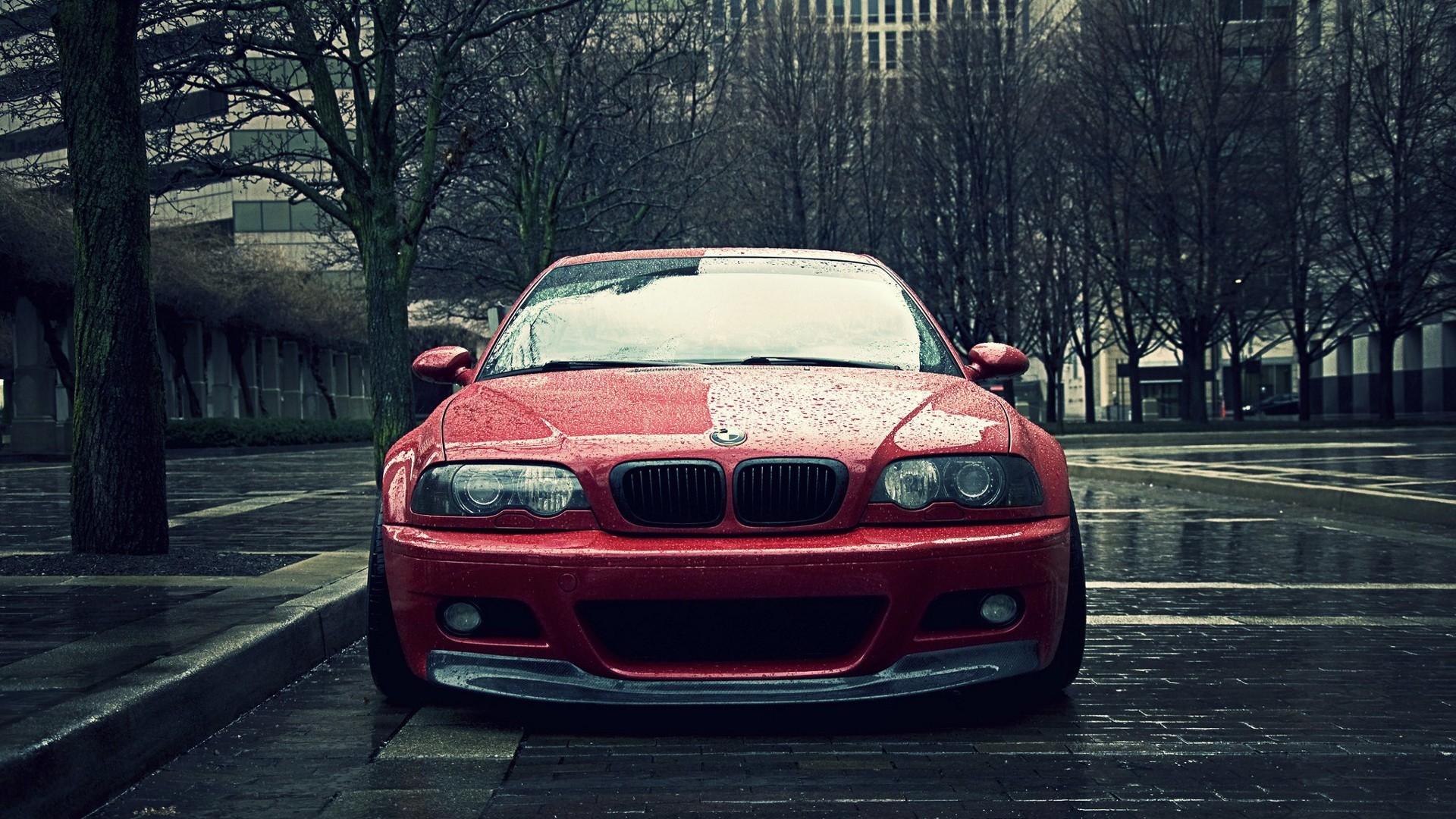 General 1920x1080 car BMW rain city red cars vehicle BMW 3 Series BMW E46 frontal view BMW M3