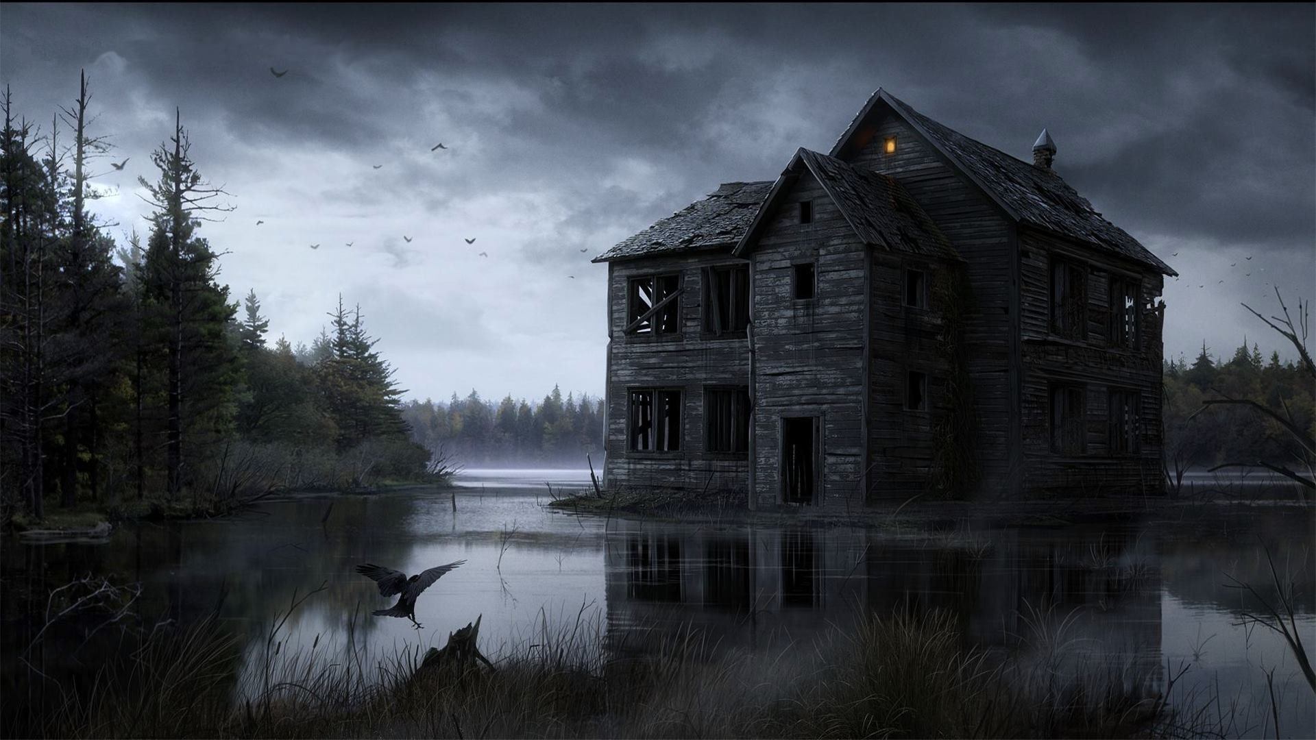 General 1920x1080 house water drawing fantasy art artwork lake ruin spooky digital art clouds crow pine trees forest