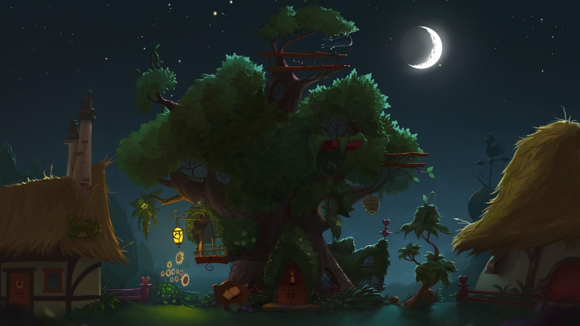 General 1920x1080 My Little Pony artwork house treehouses Moon night fantasy art Stealth_MLP