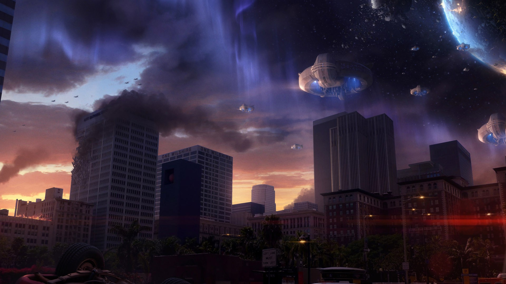 General 1920x1080 artwork Space Invaders fantasy art concept art spaceship city space urban