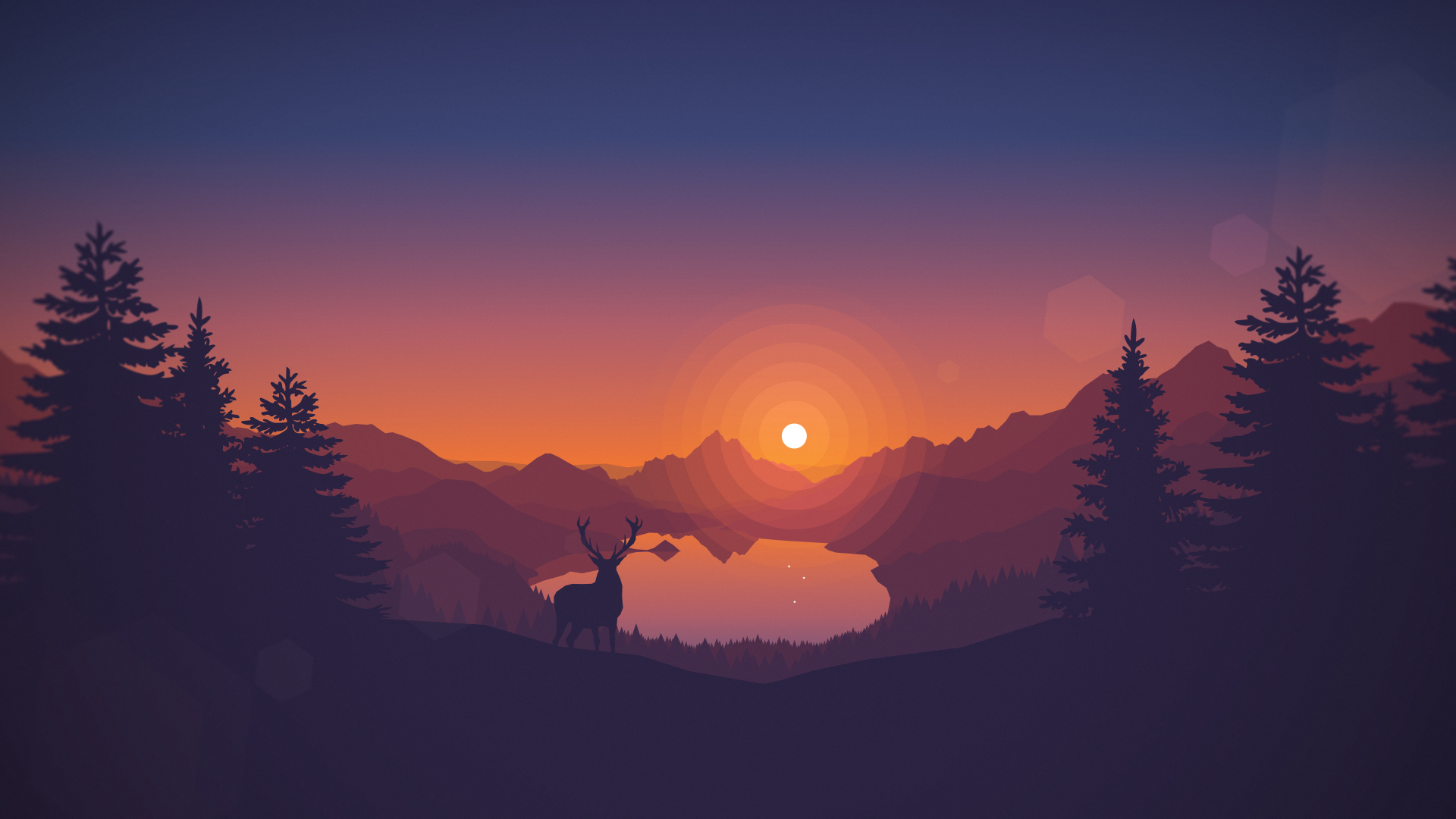General 1920x1080 deer artwork silhouette landscape nature digital art trees pine trees sunset lake hills animals clear sky Firewatch video games drawing video game art