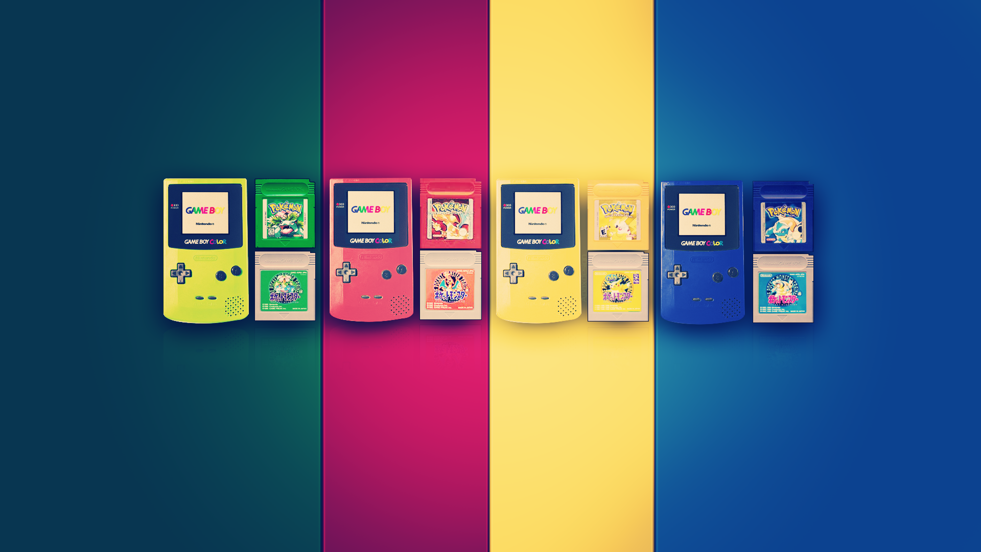 General 1920x1080 GameBoy colorful Pokemon First Generation video games GameBoy Color consoles Pokémon digital art artwork Nintendo retro games
