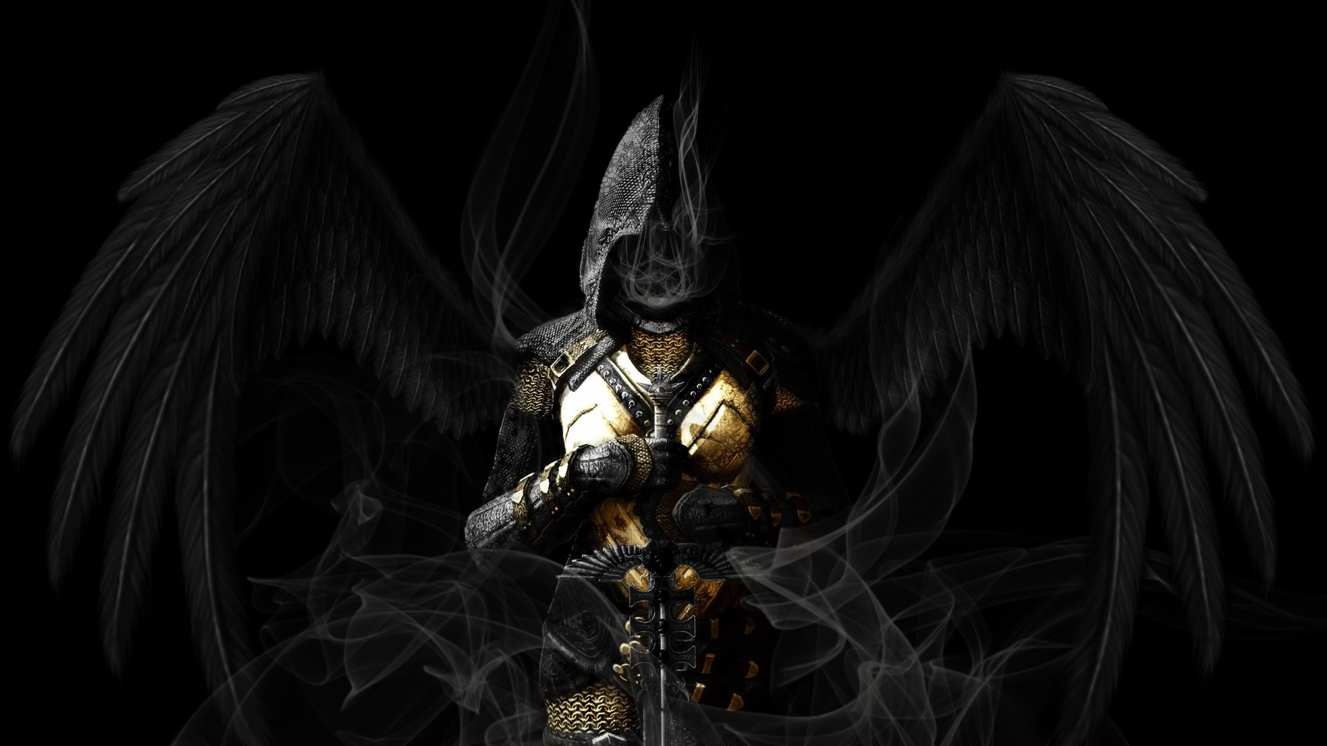 General 1920x1080 angel wings sword armor dark archangel