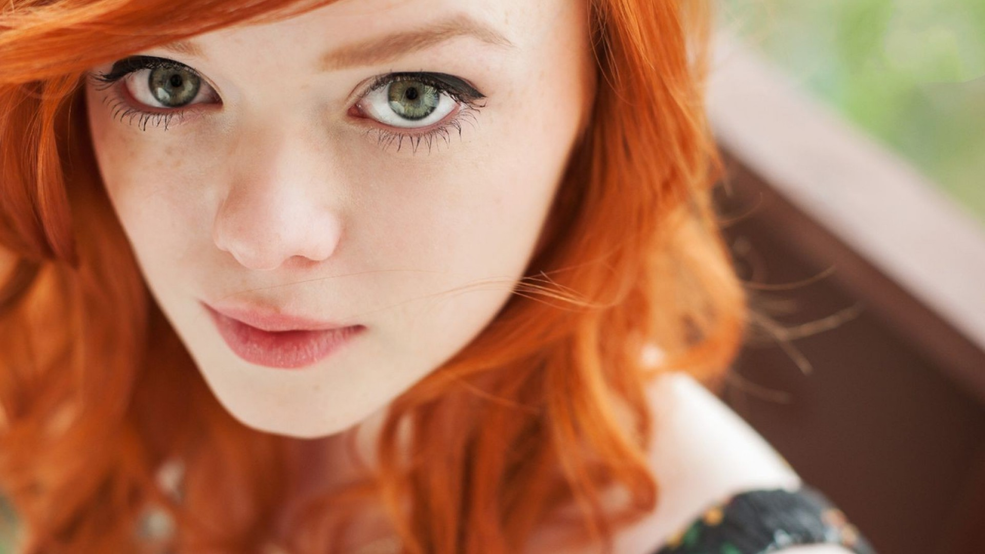 People 1920x1080 Lass Suicide tattoo redhead women model face pornstar Suicide Girls freckles green eyes pink lipstick looking at viewer